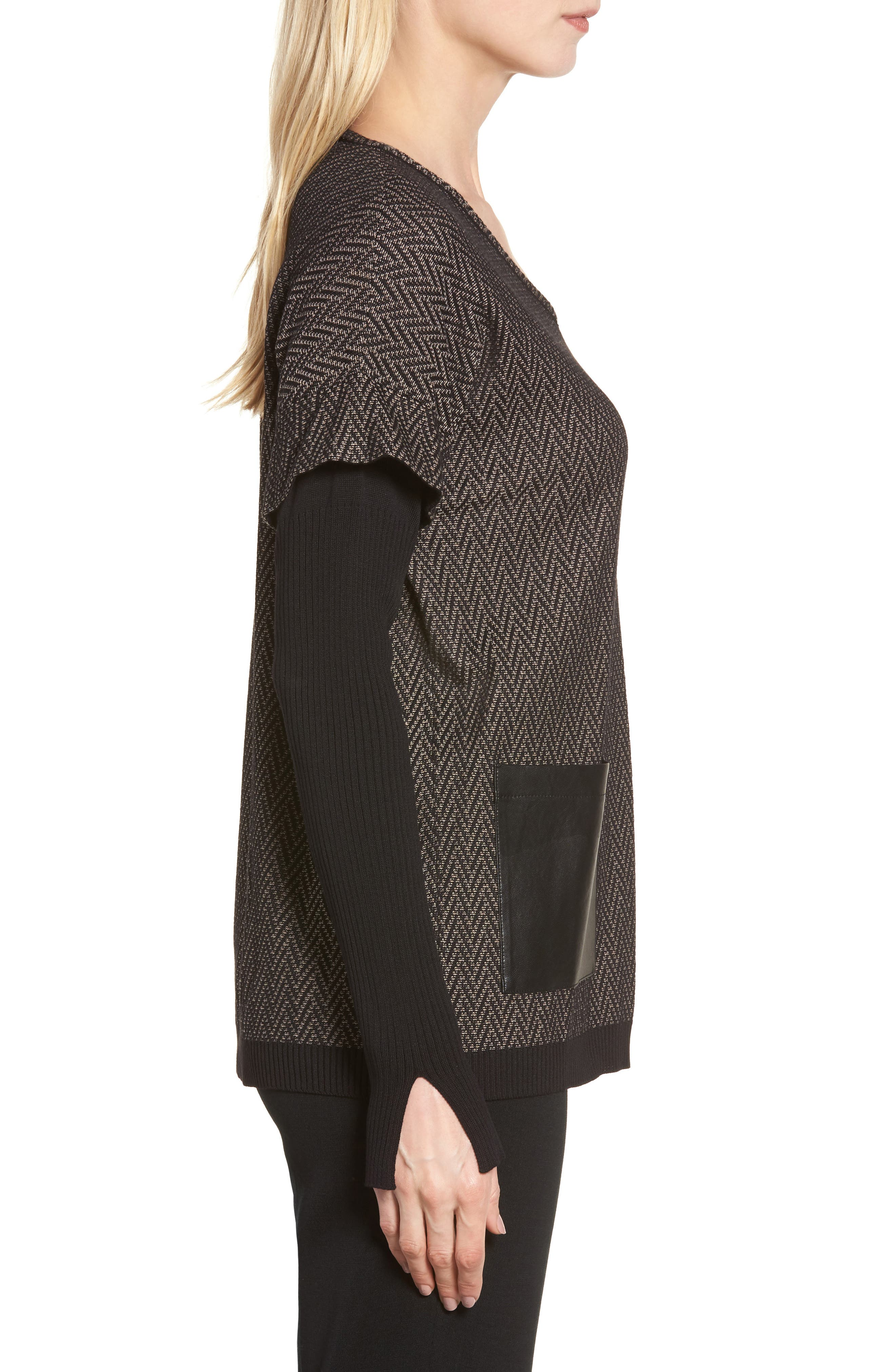 Layered Look Sweater,                             Alternate thumbnail 3, color,                             Ash/ Black