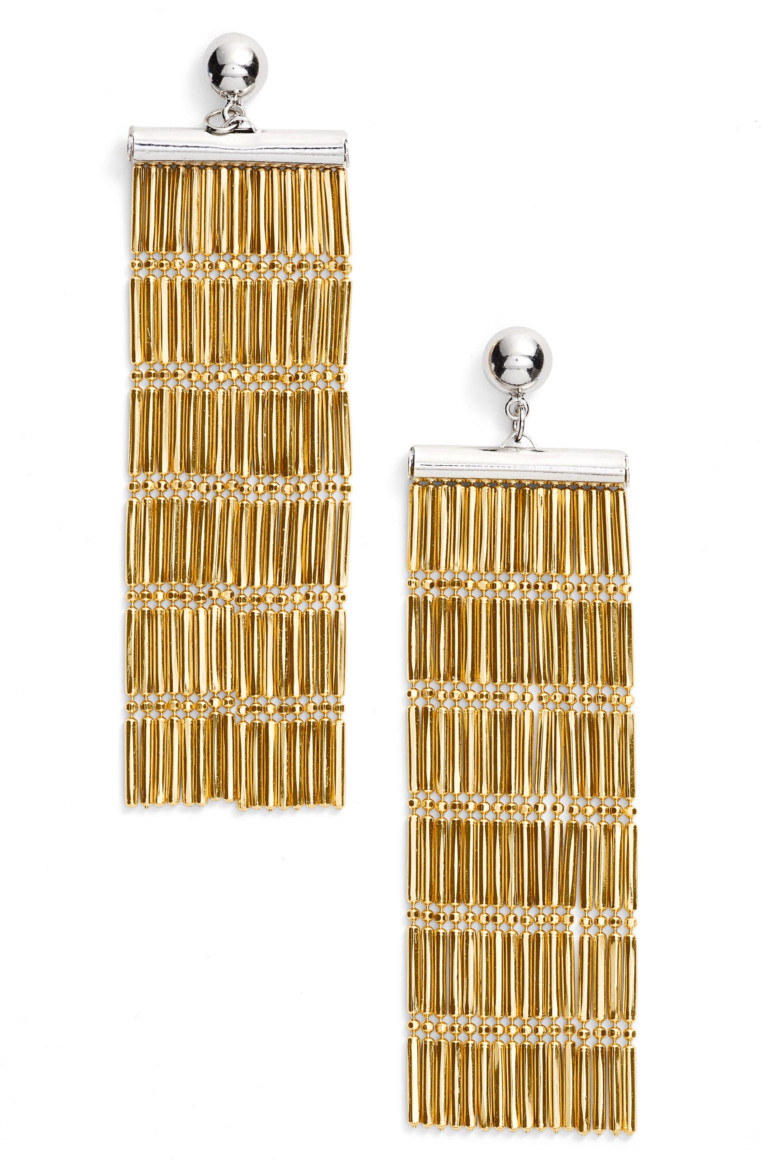 Argento Vivo Two-Tone Linear Fringe Earrings