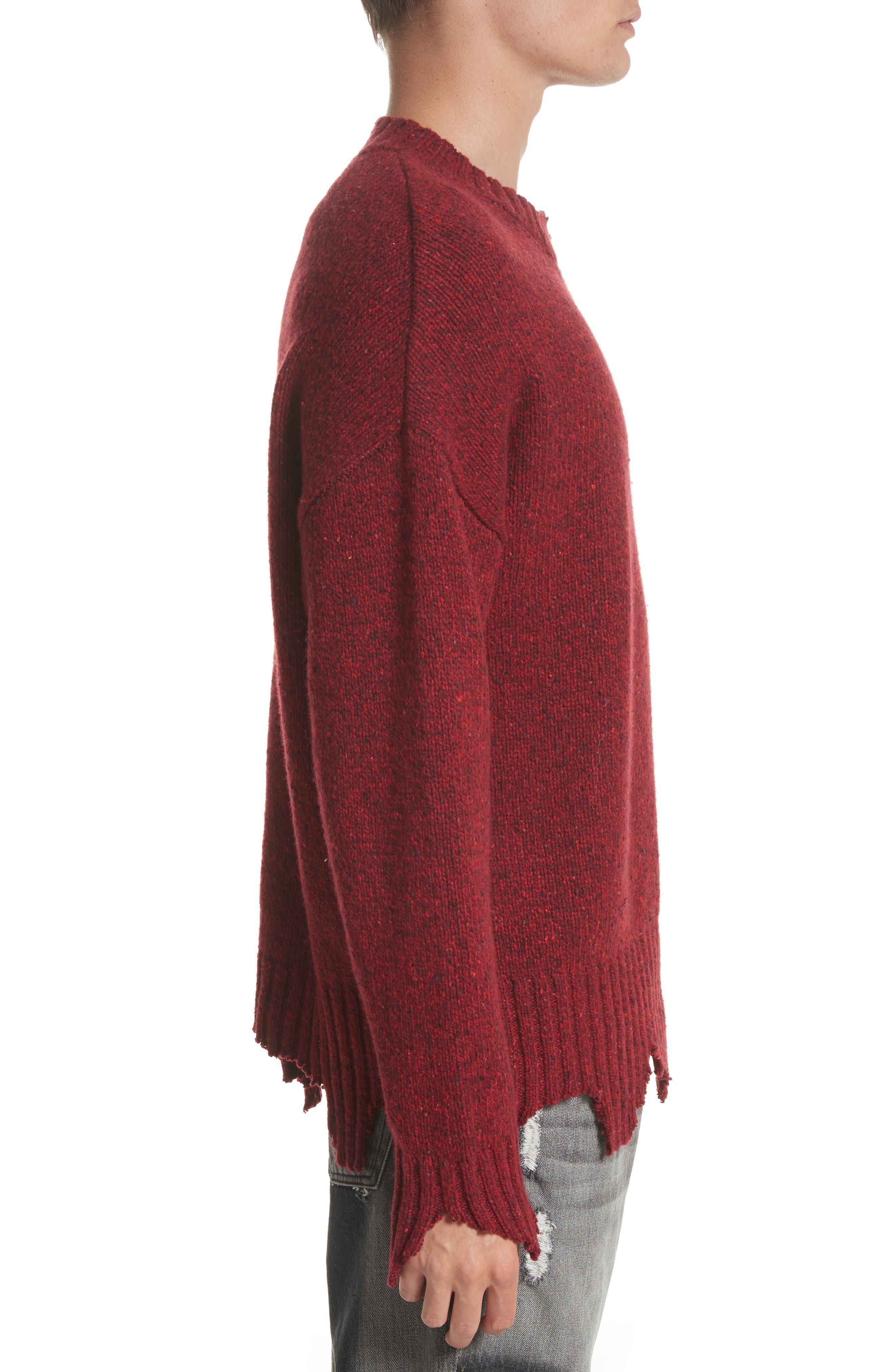 Destroyed Crewneck Sweater,                             Alternate thumbnail 3, color,                             Red
