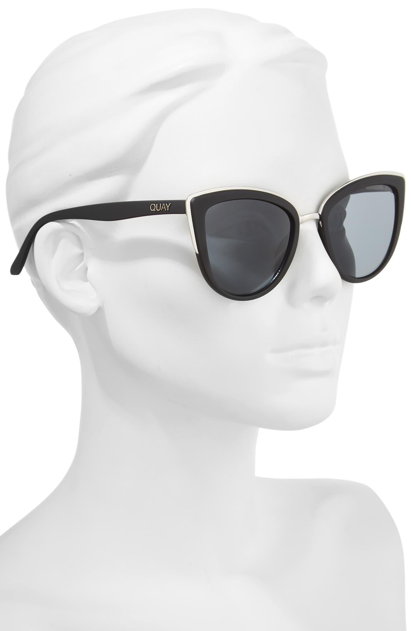 'My Girl' 50mm Cat Eye Sunglasses,                             Alternate thumbnail 3, color,                             Black/ Smoke Lens