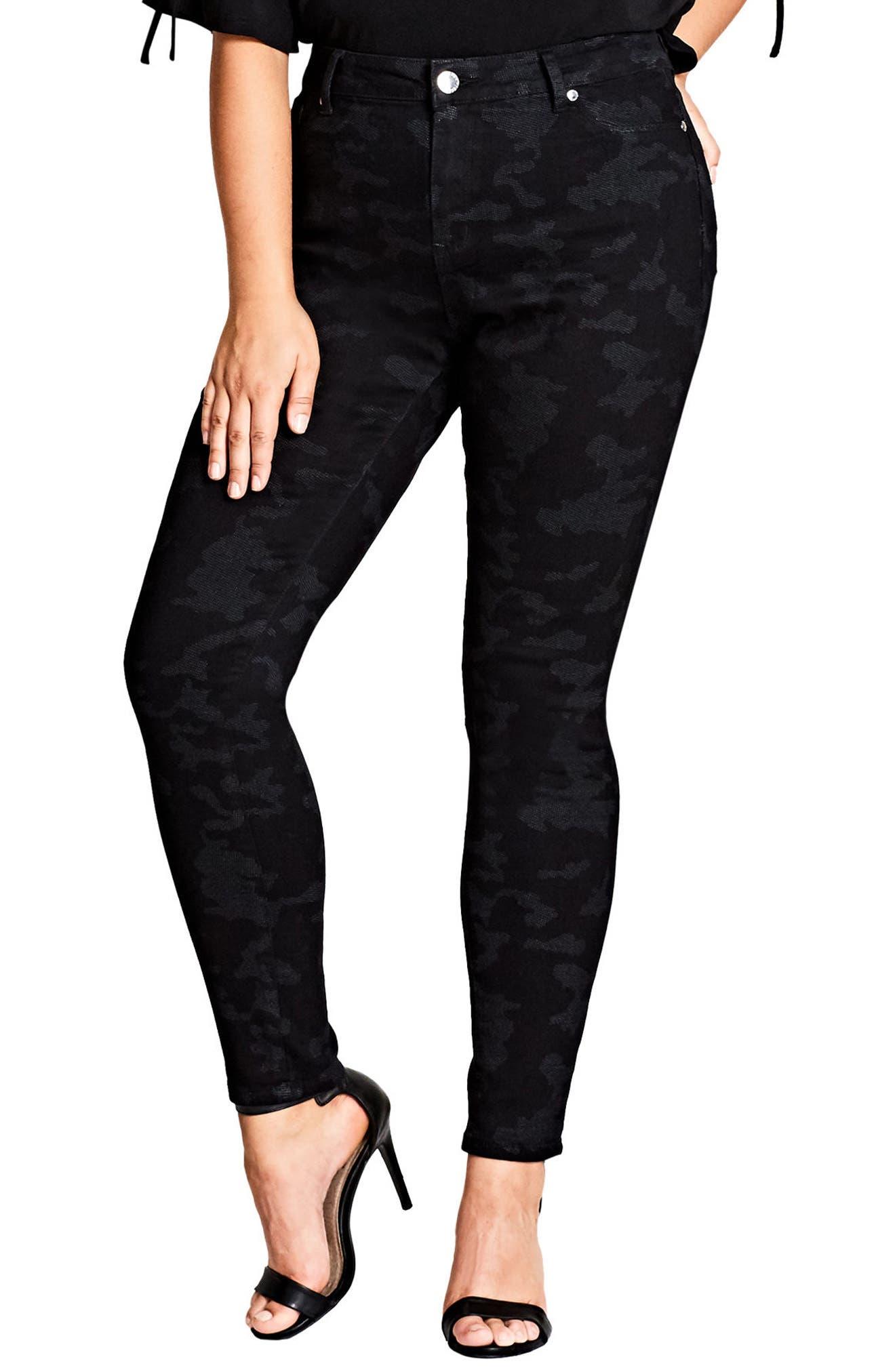 City Chic Mono Camo Skinny Pants (Plus Size)