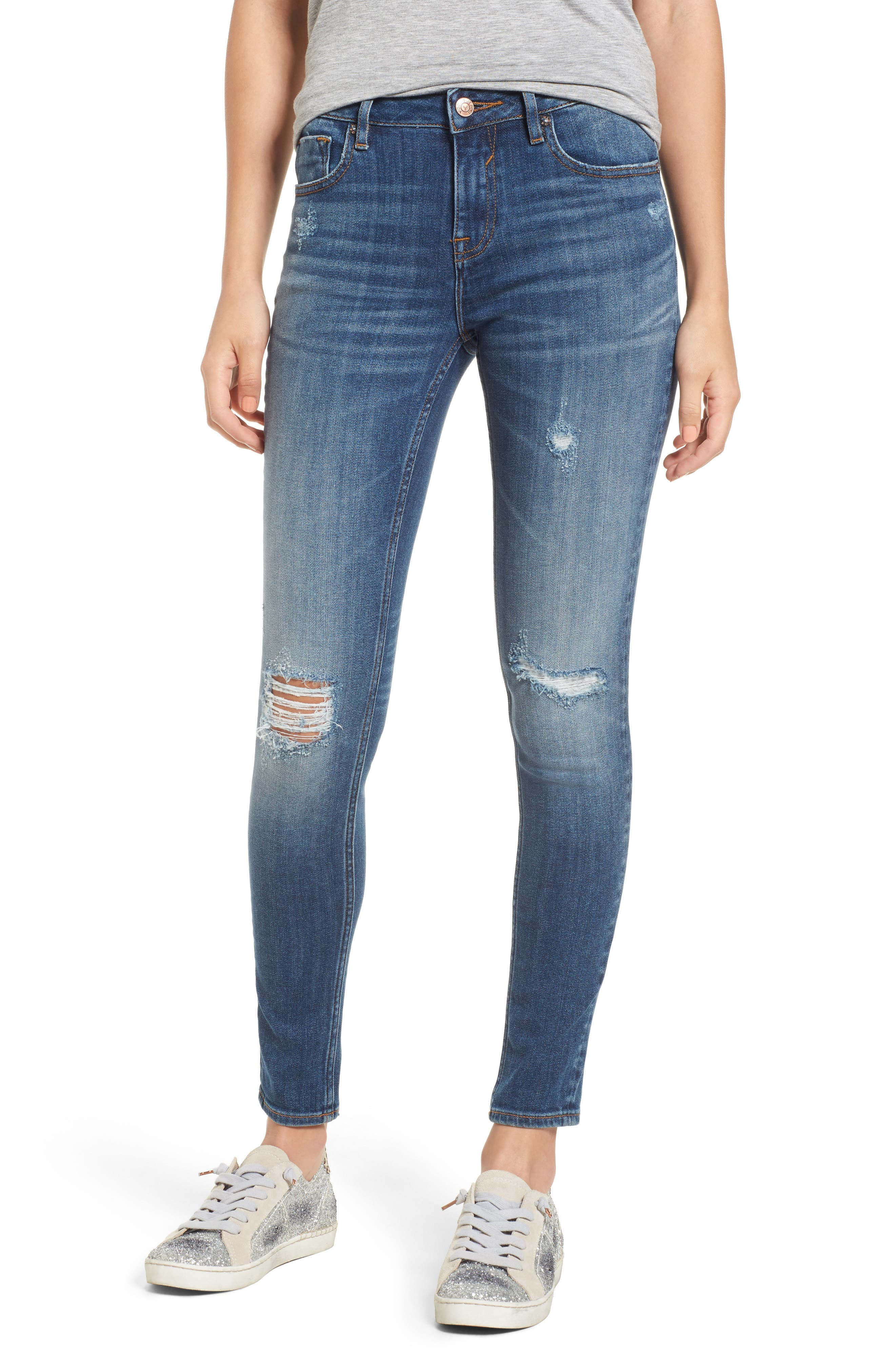 Vigoss Jagger Ripped Skinny Jeans (Medium Wash)
