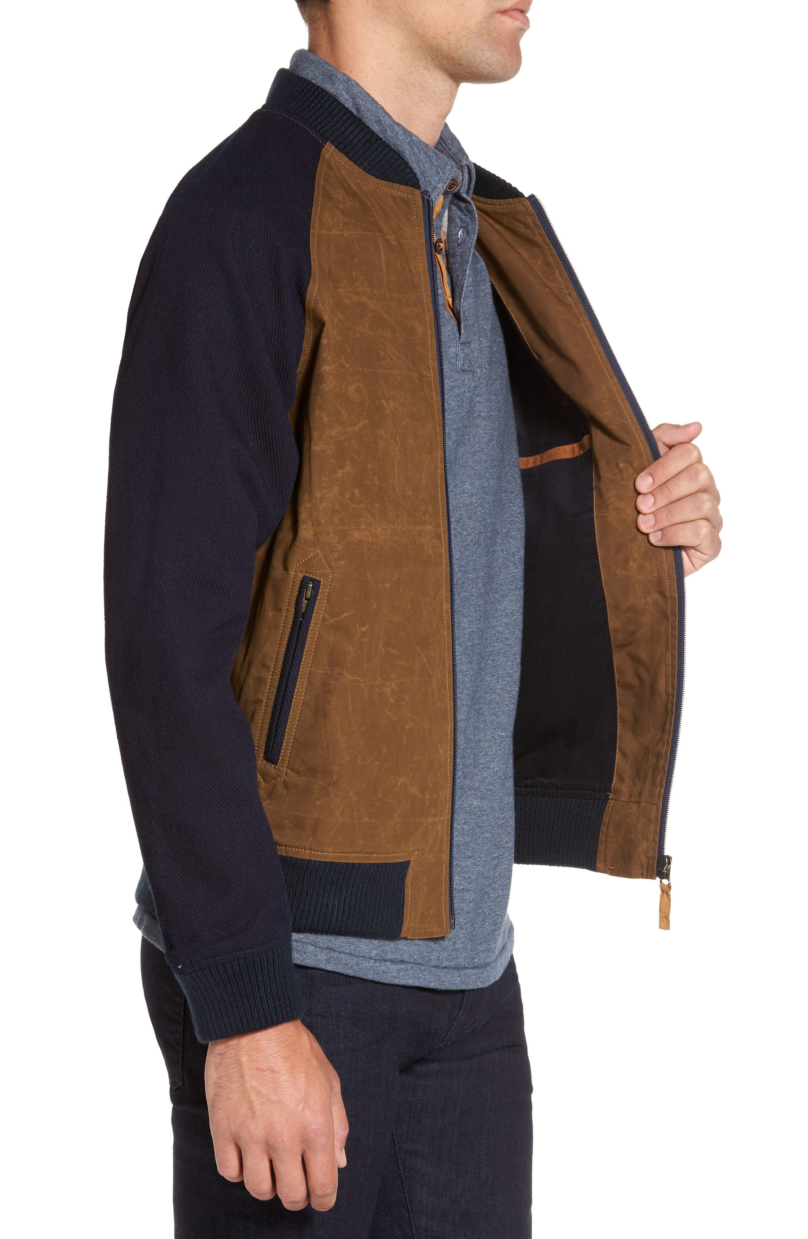 Colorblock Waxed Bomber Jacket,                             Alternate thumbnail 3, color,                             Brown
