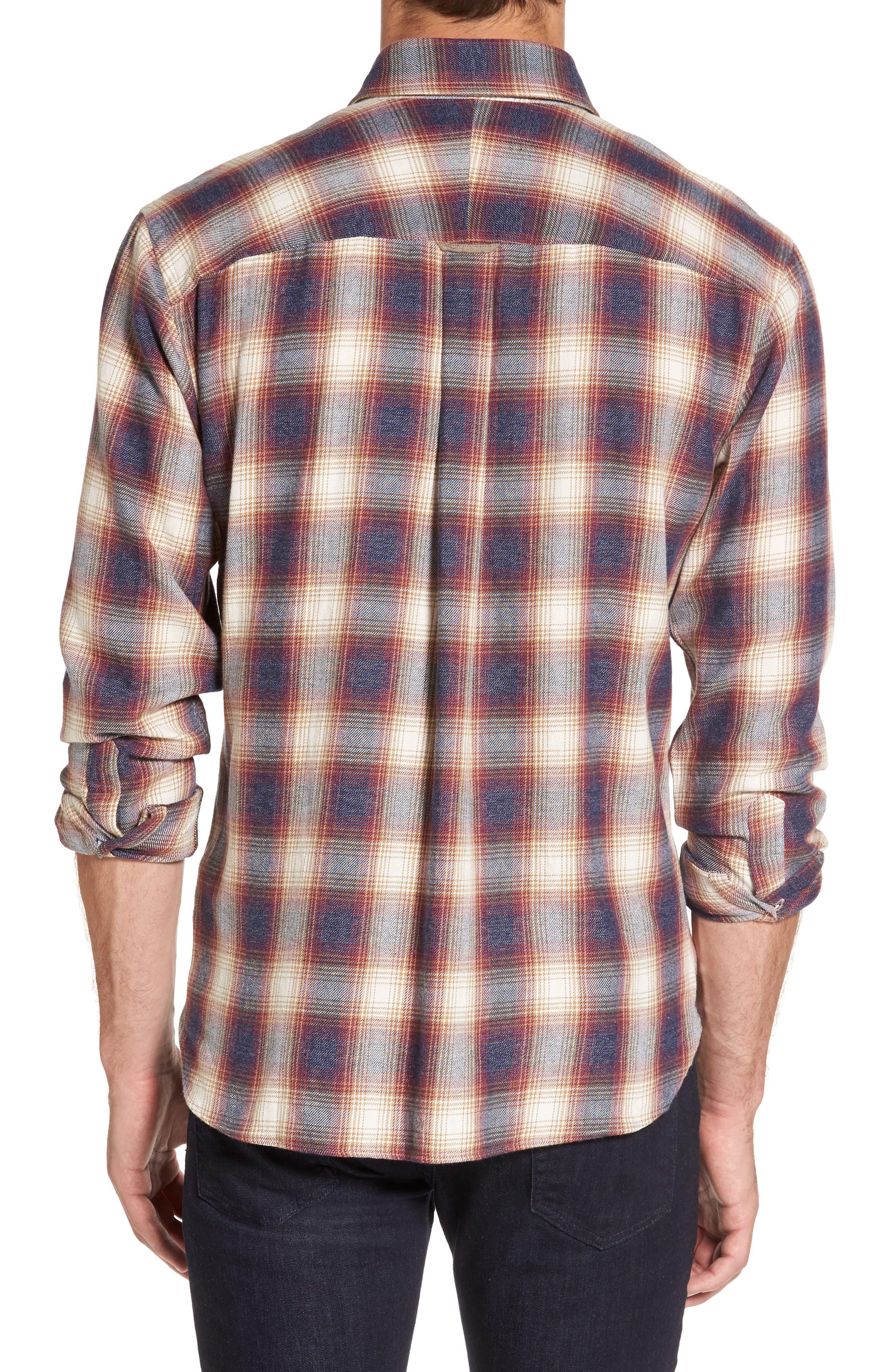 Slim Fit Plaid Sport Shirt,                             Alternate thumbnail 2, color,                             Burgundy