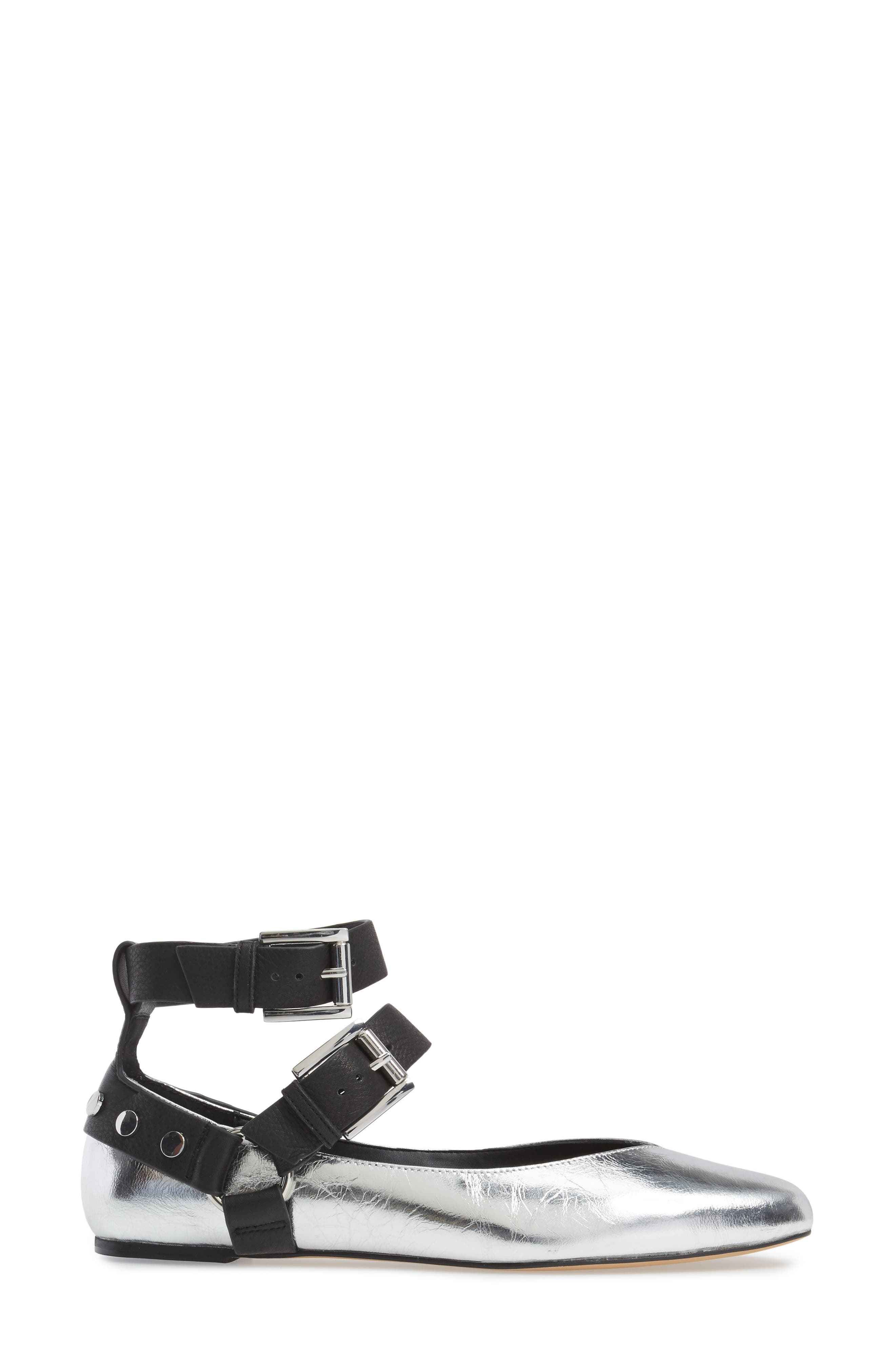 Vivica Ankle Strap Flat,                             Alternate thumbnail 4, color,                             Silver Leather