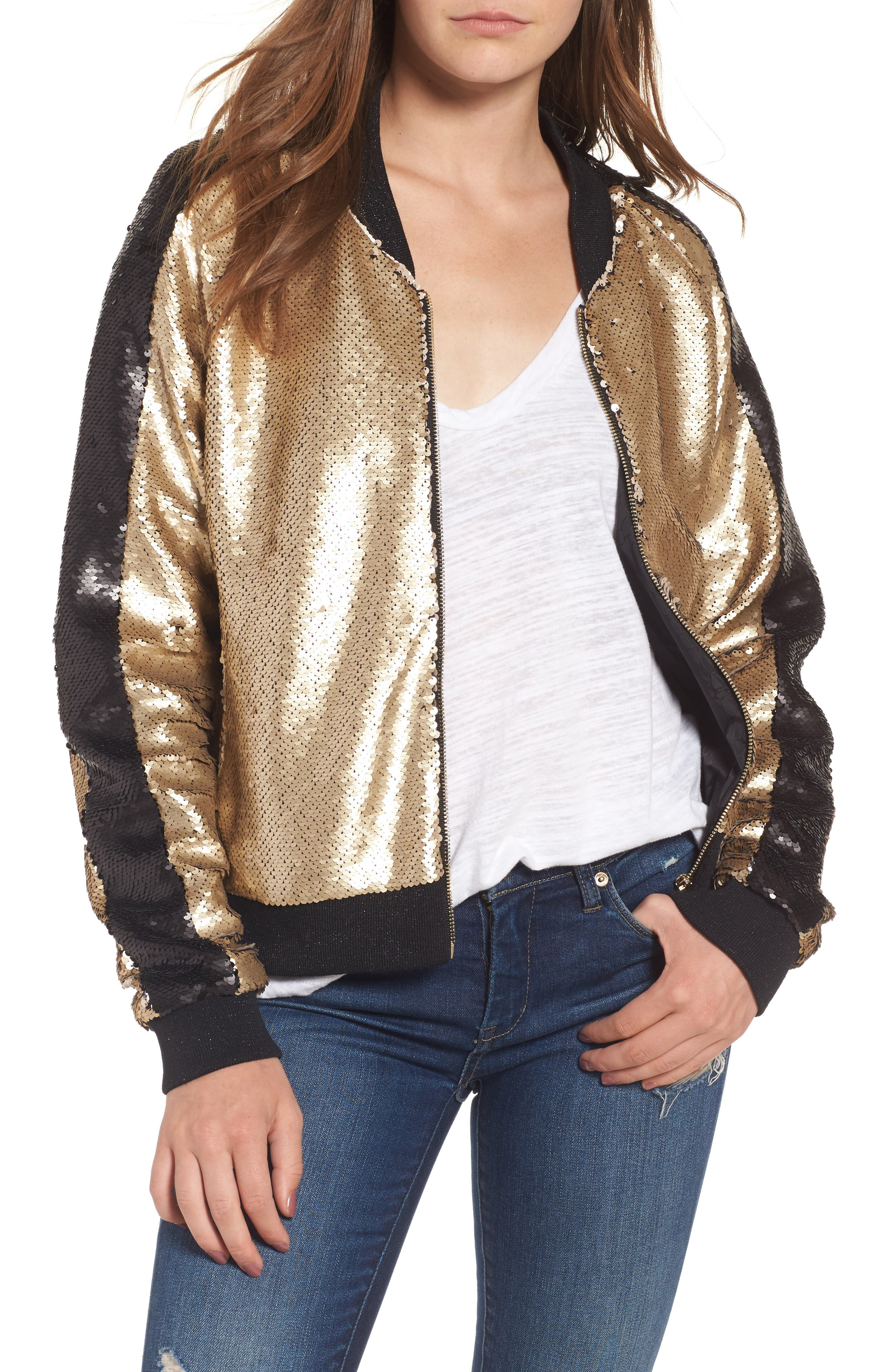 Sequin Bomber Jacket,                             Main thumbnail 1, color,                             Gold Dust