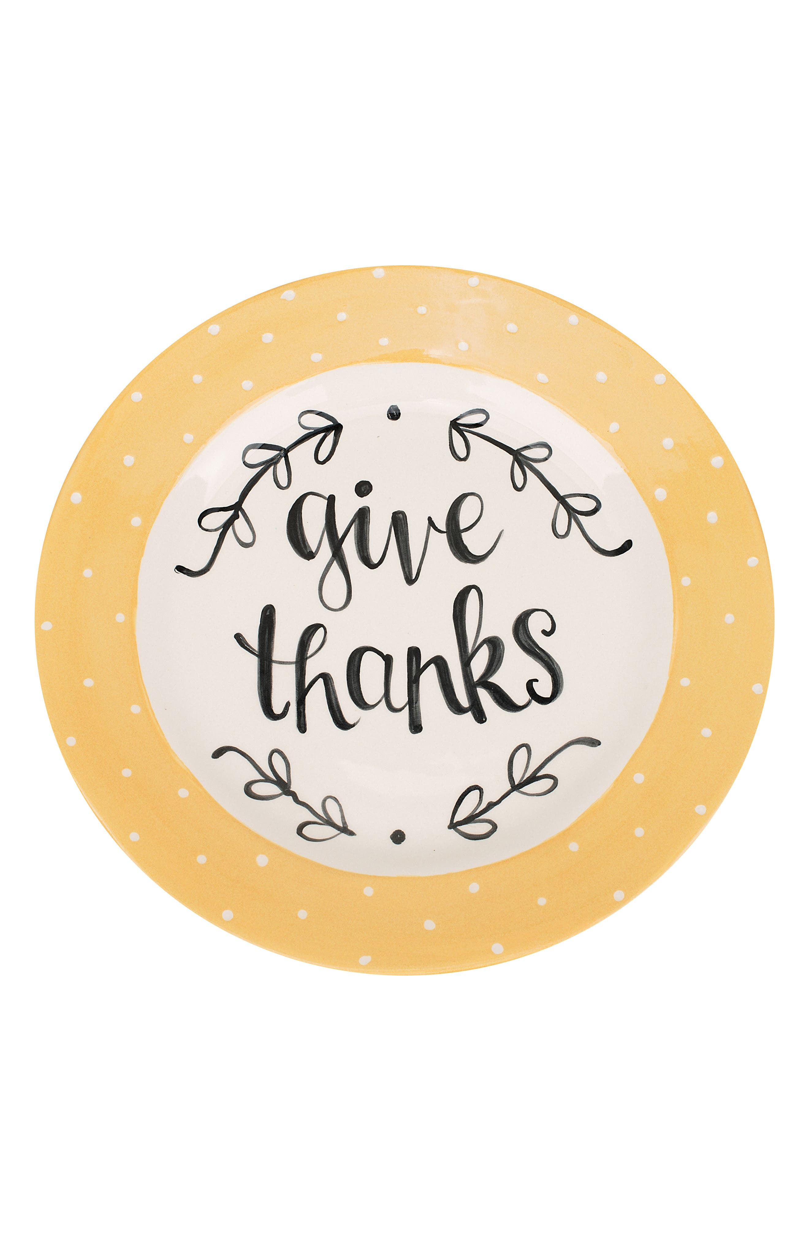 Give Thanks Plate,                         Main,                         color, Gold/ Cream