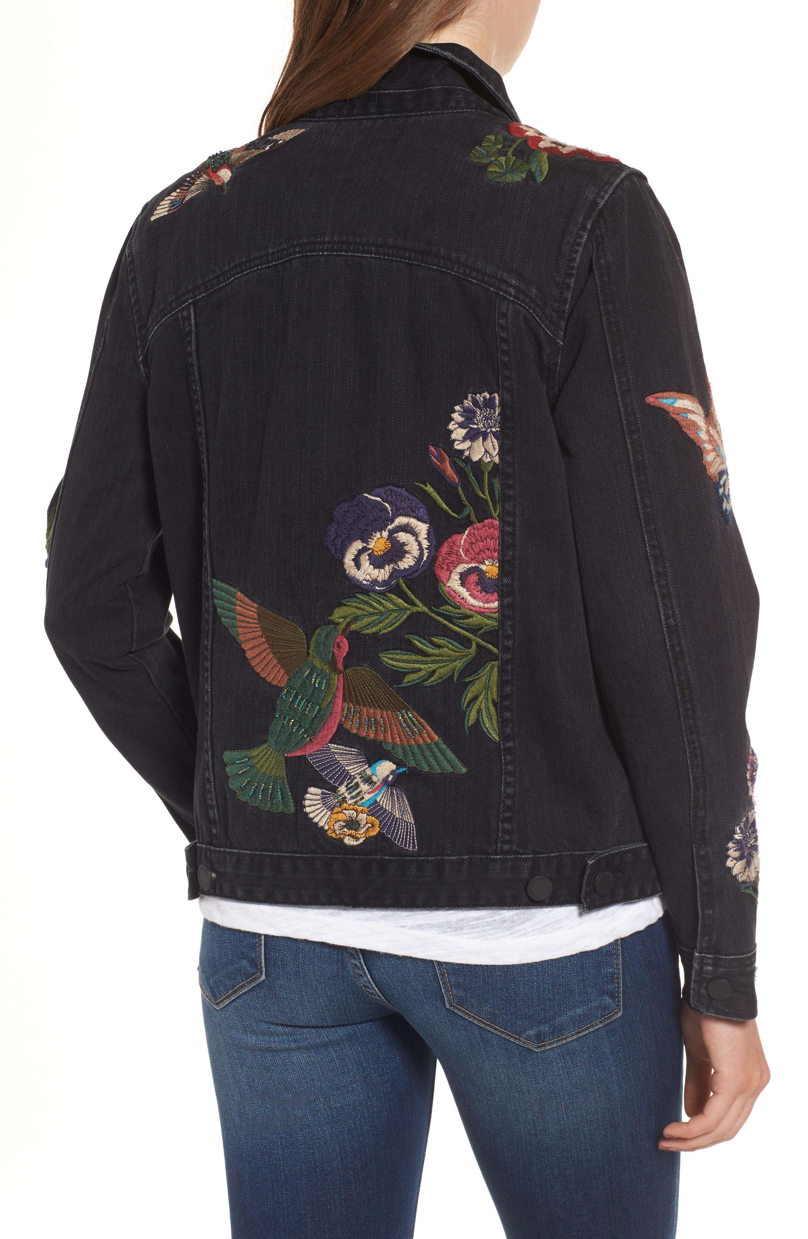 Embroidered Denim Jacket,                             Alternate thumbnail 2, color,                             Night Skies