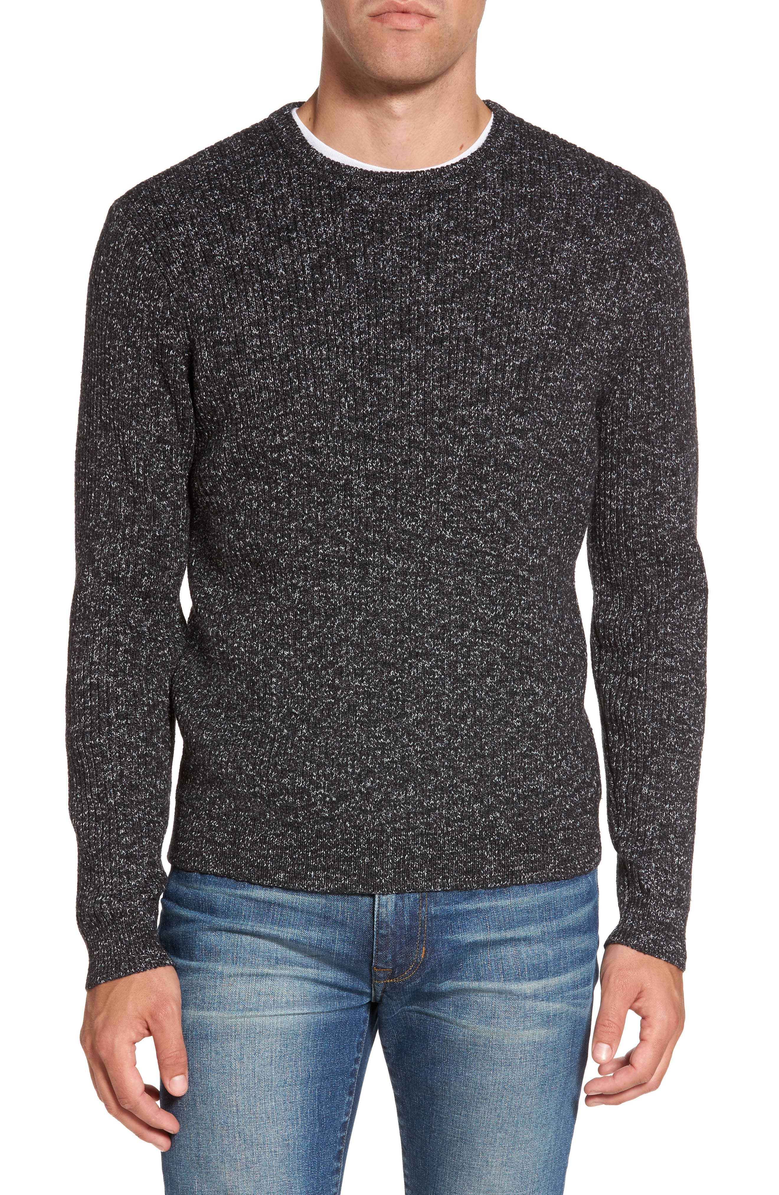Donegal Space Dye Nep Sweater,                         Main,                         color, Charcoal Donegal