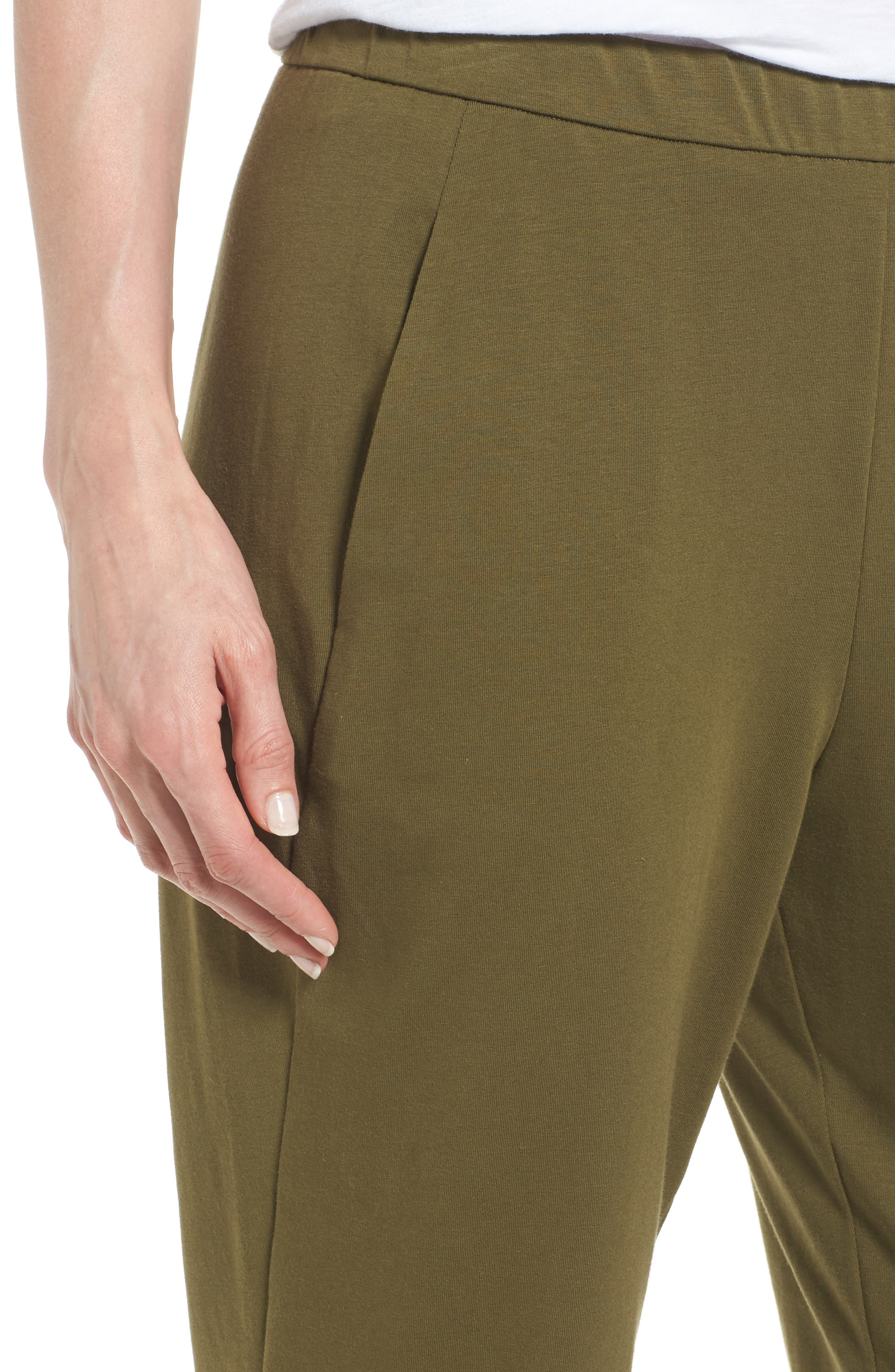 Alternate Image 4  - Eileen Fisher Stretch Organic Cotton Slim Slouchy Ankle Pants (Regular & Petite)