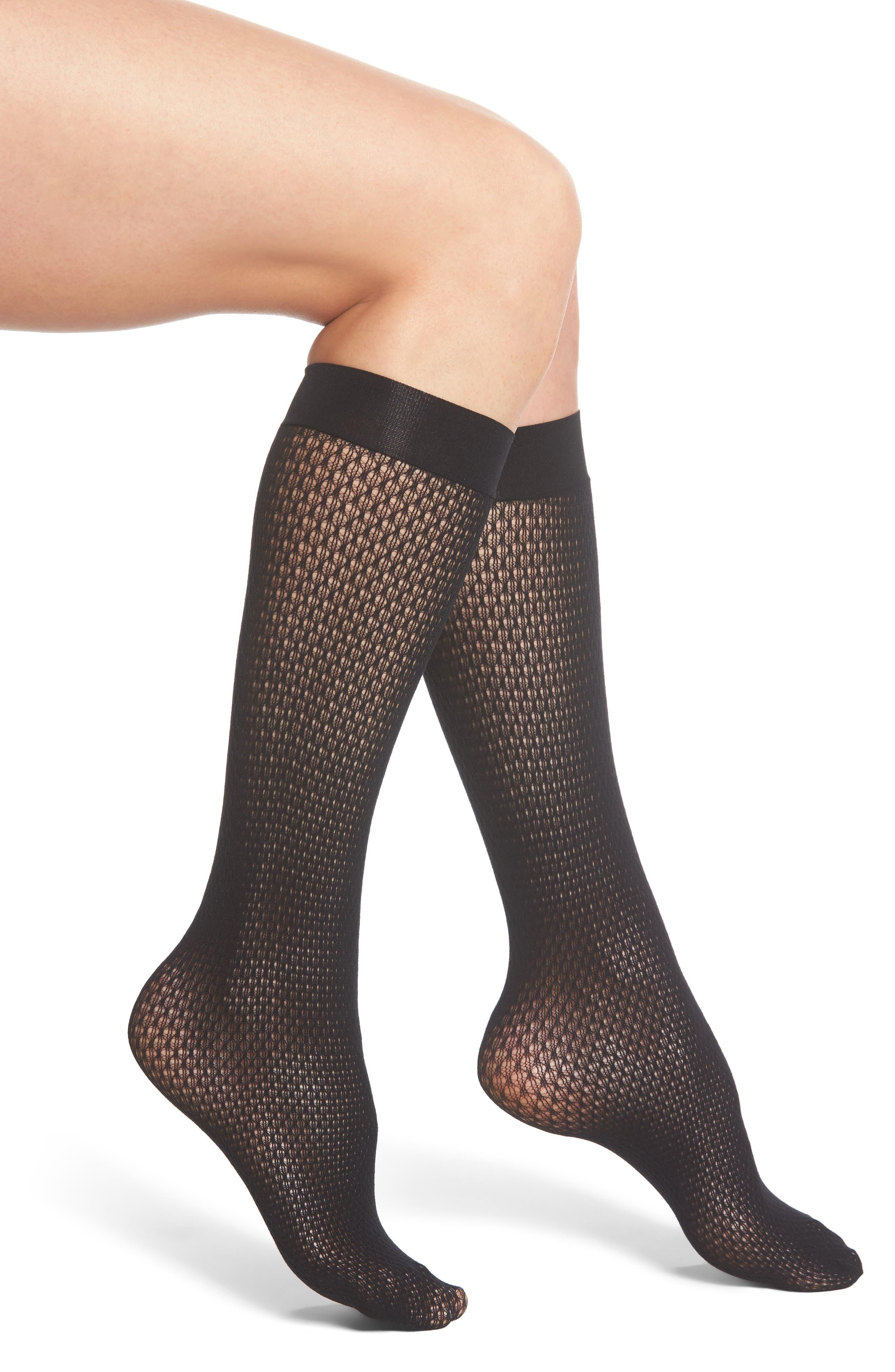 Rhomb Net Knee High Stockings,                             Main thumbnail 1, color,                             Black