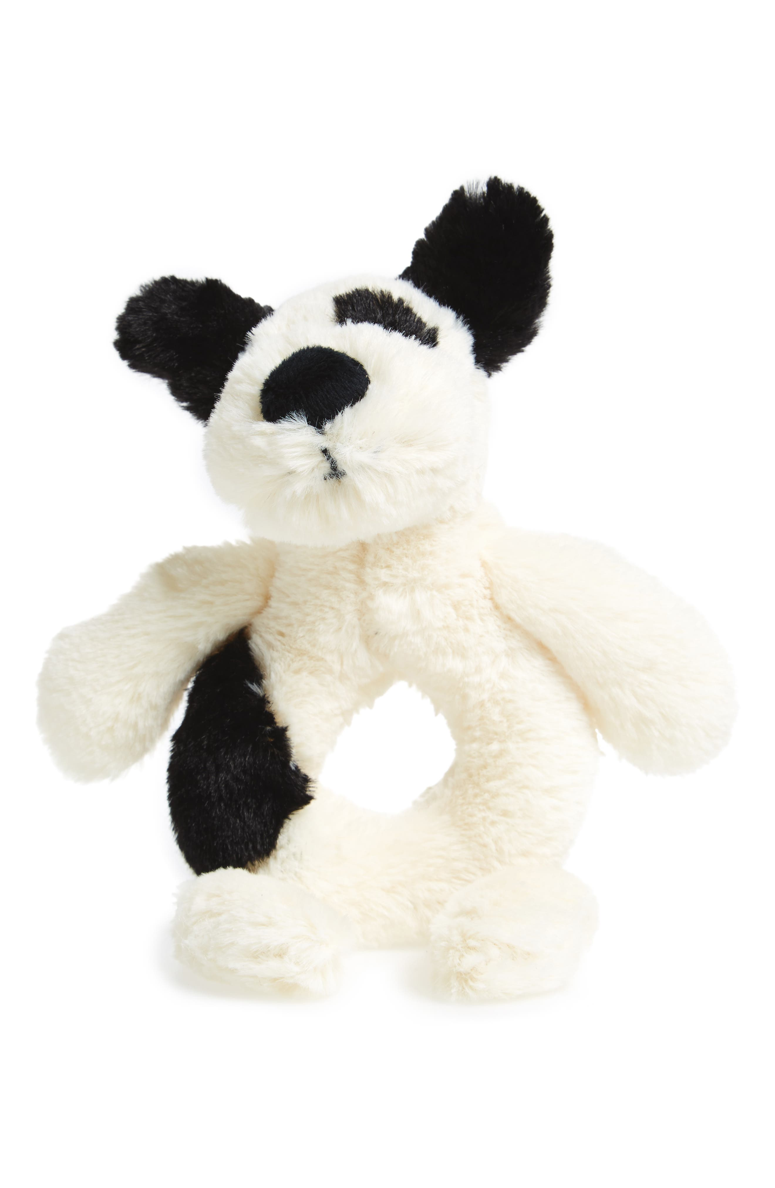 'Dog' Grabber Rattle,                             Main thumbnail 1, color,                             Cream/ Black