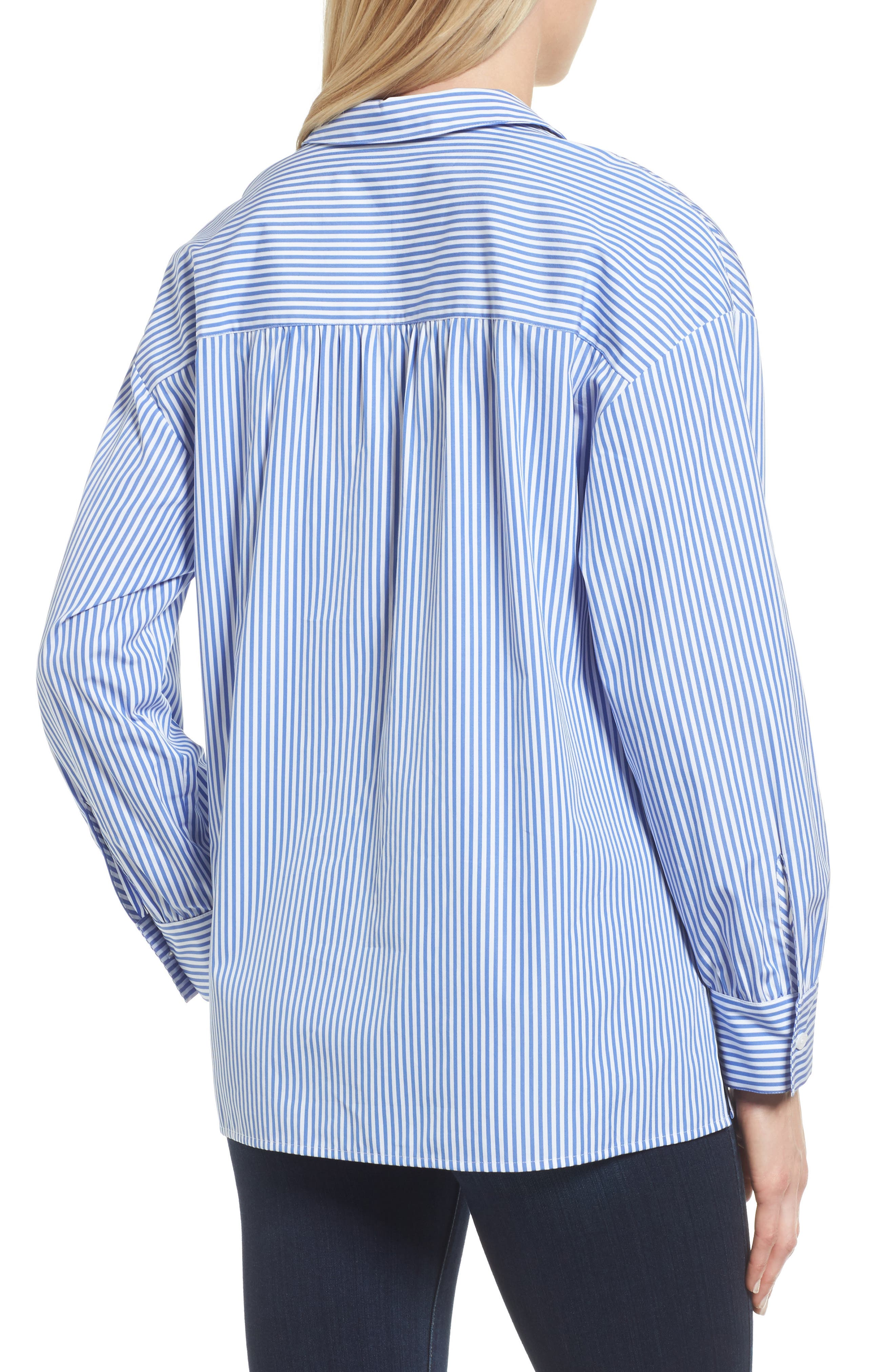 Lace-Up Stripe Shirt,                             Alternate thumbnail 3, color,                             Blue/ White Stripe