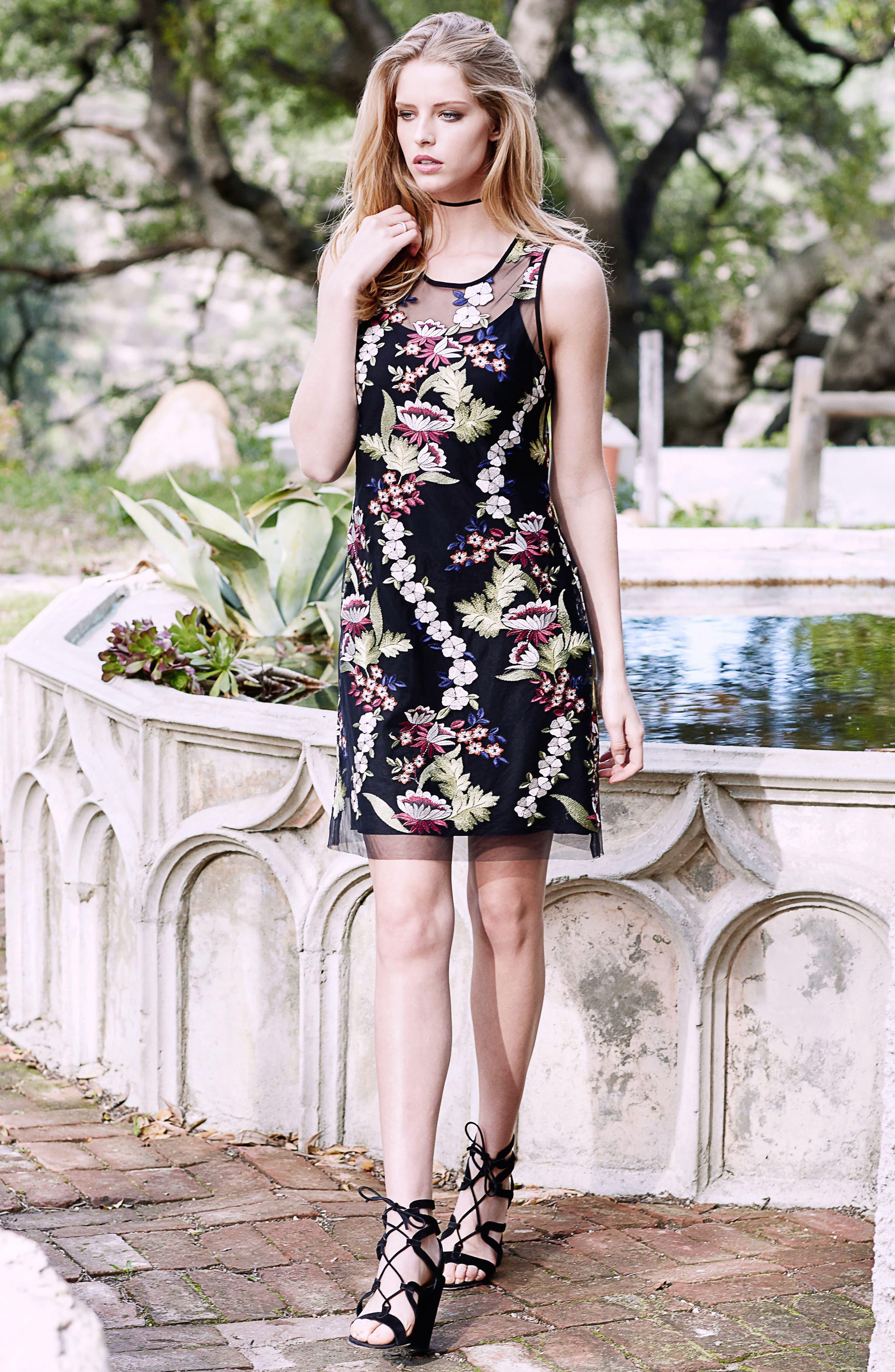 Alternate Image 2  - Karen Kane Floral Embroidery A-Line Dress