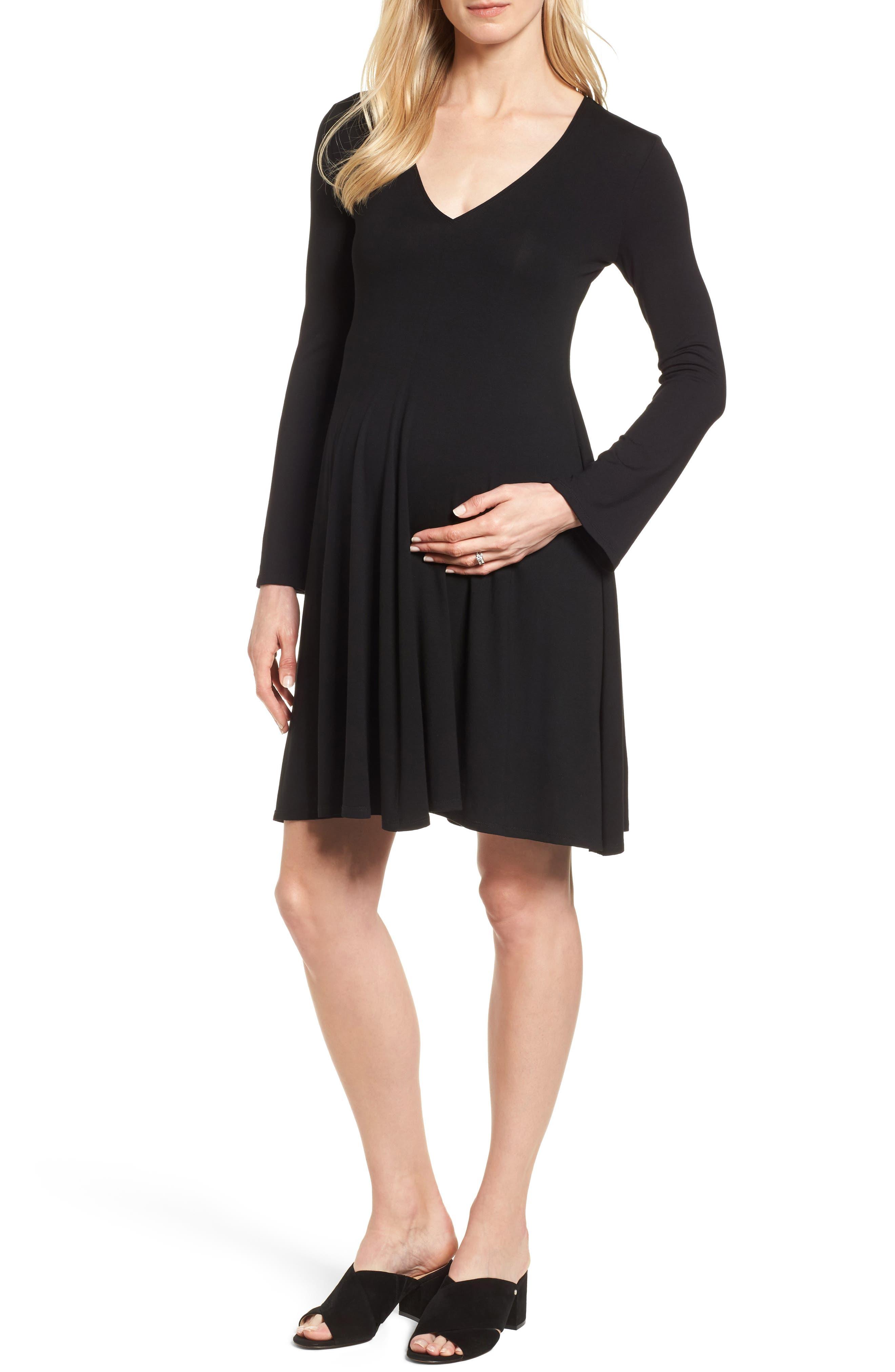 Paola Maternity Trapeze Dress,                         Main,                         color, Caviar Black