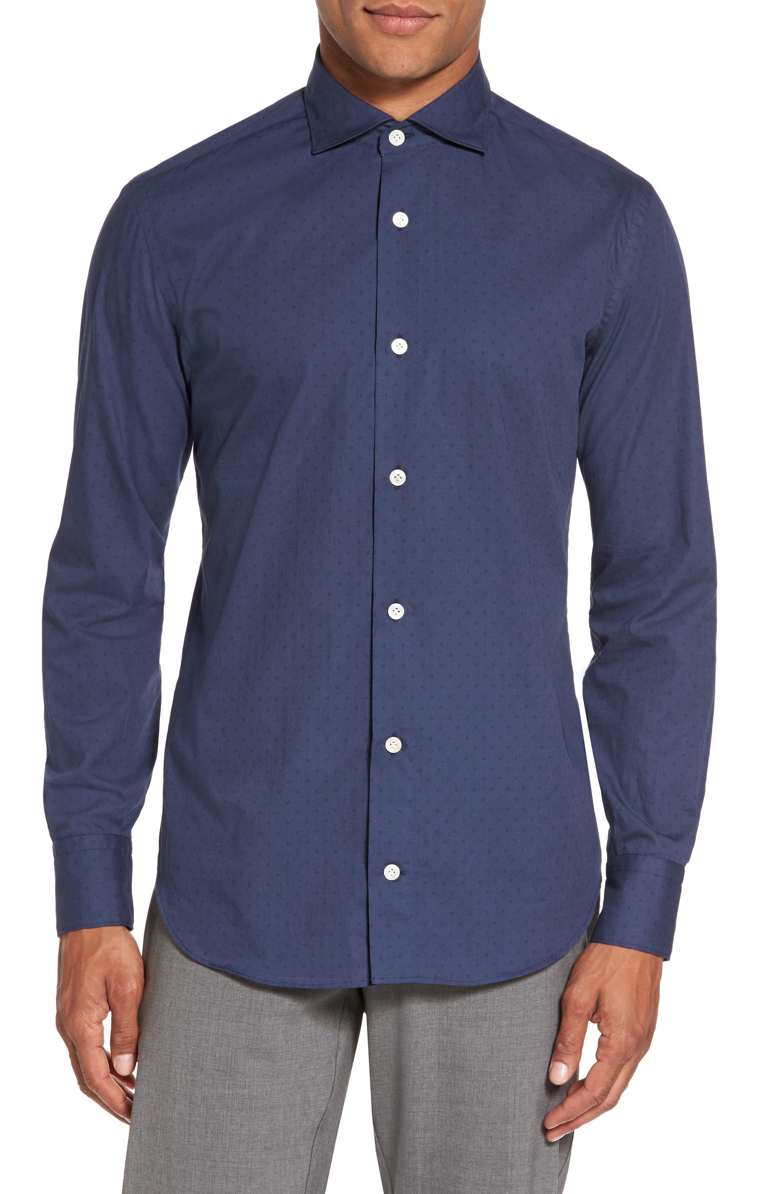 Dot Print Sport Shirt,                         Main,                         color, Blue/ Navy