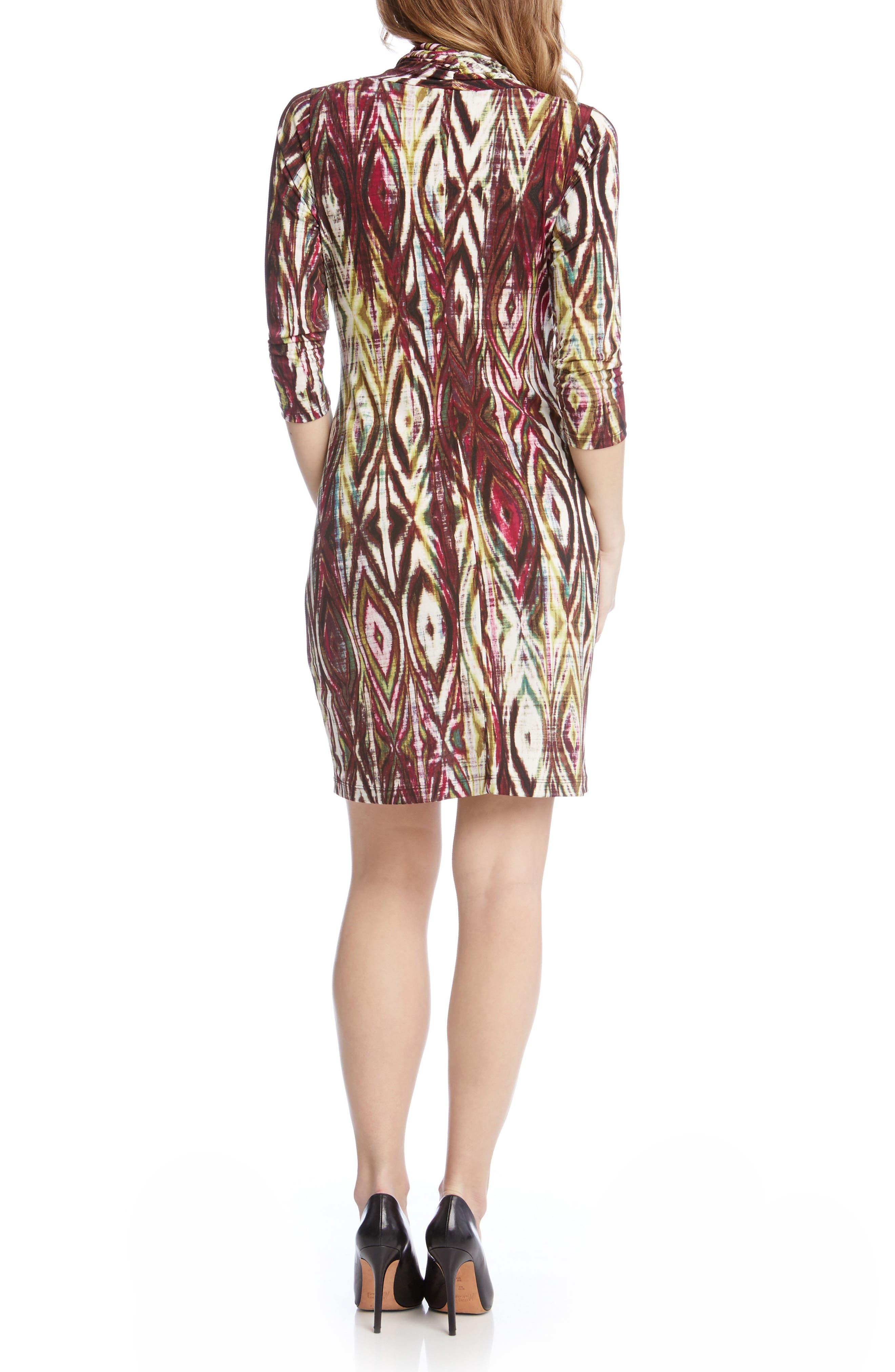 Alternate Image 3  - Karen Kane Print Jersey Cascade Faux Wrap Dress