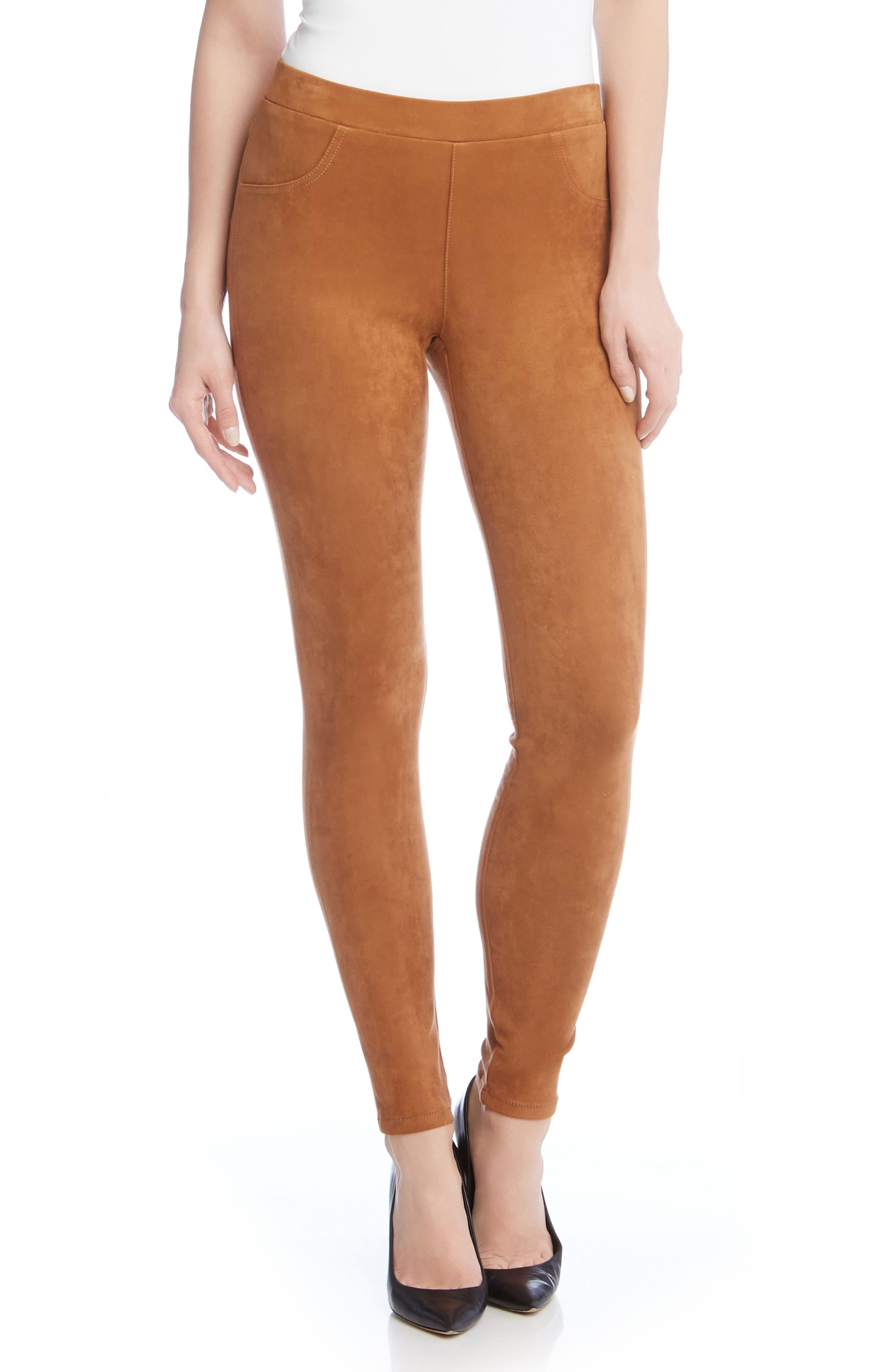 Main Image - Karen Kane Faux Suede Knit Skinny Pants
