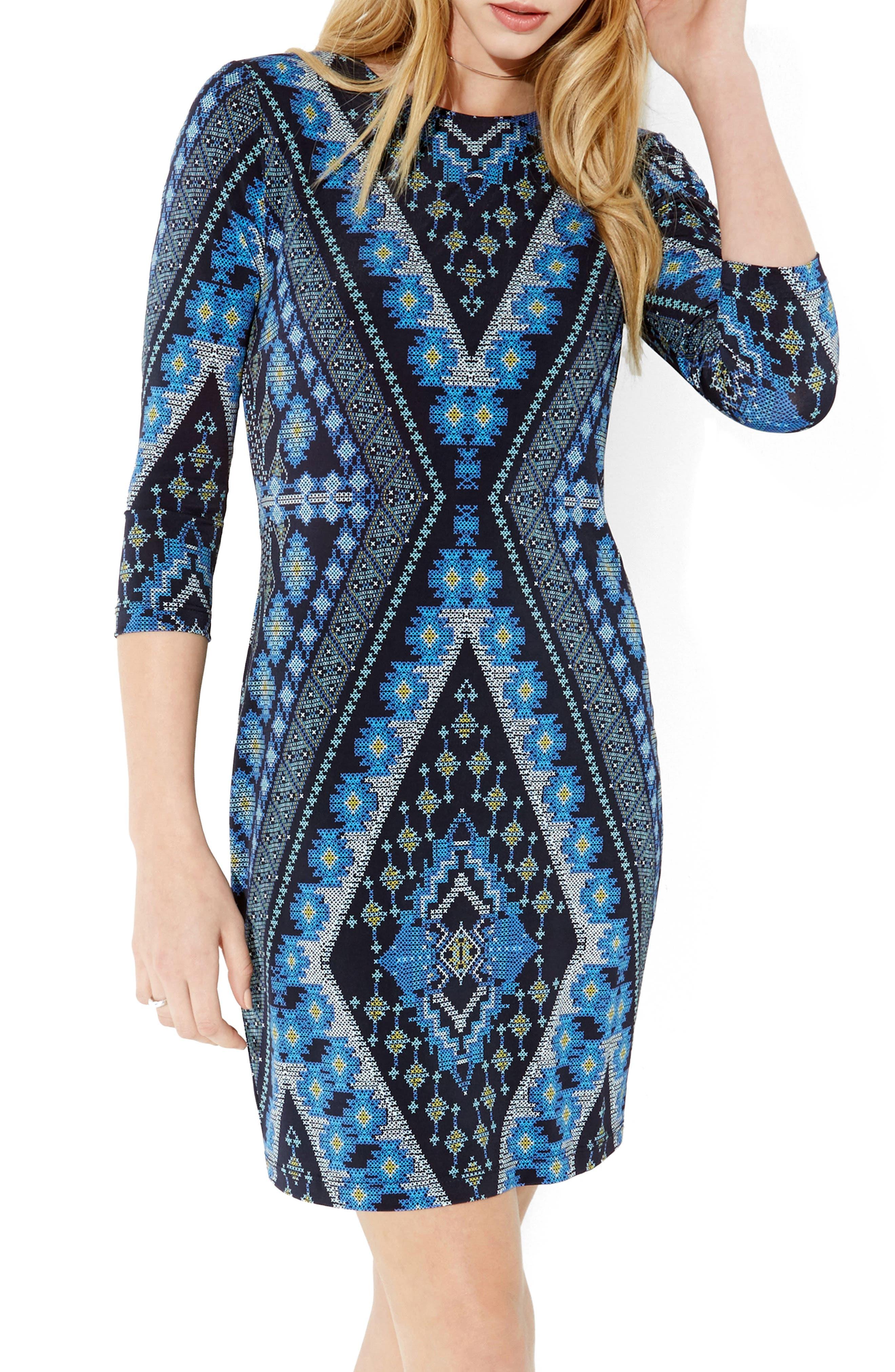 KAREN KANE Diamond Print Jersey Sheath Dress