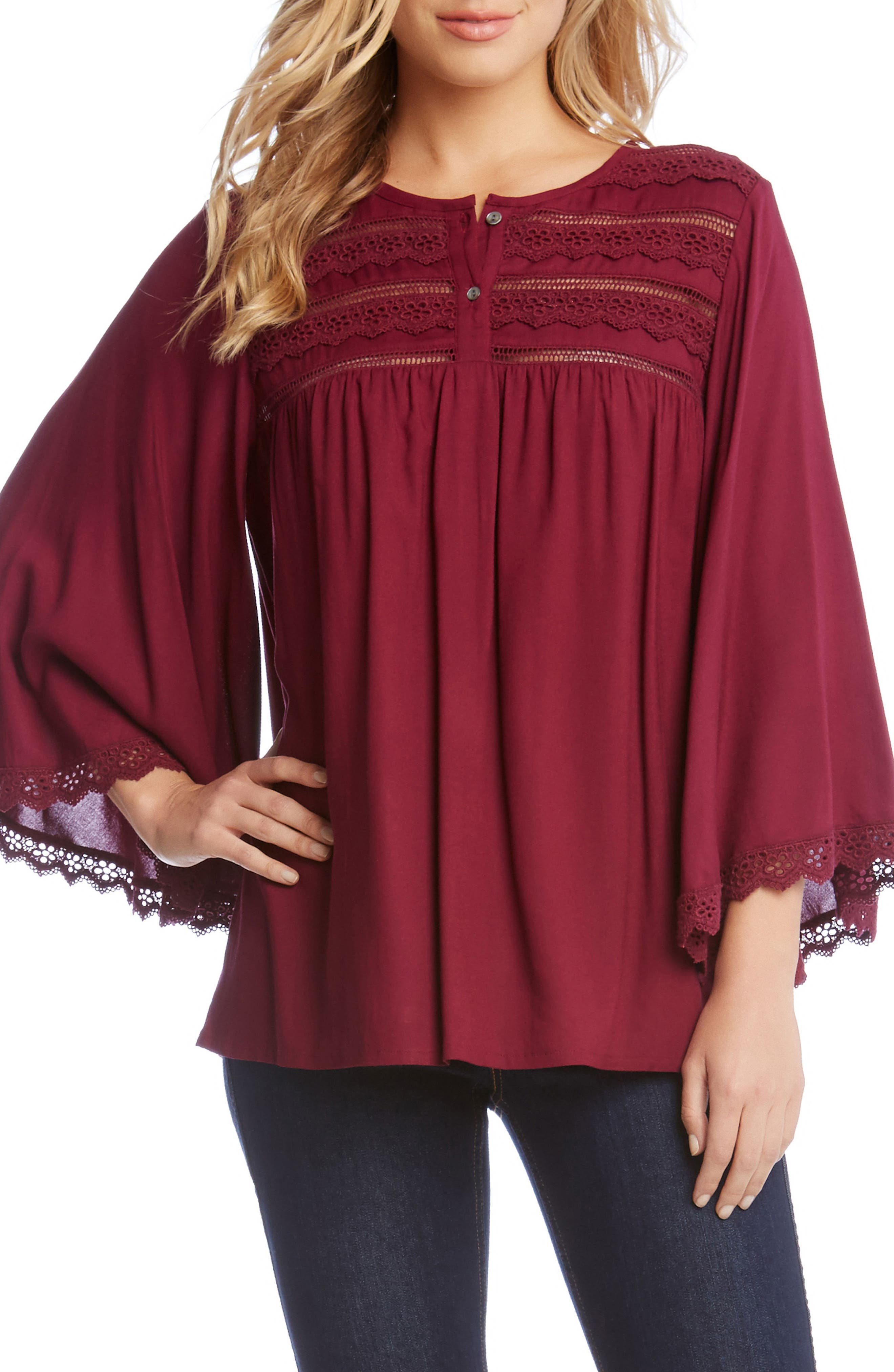 Lace Trim Flare Sleeve Top,                             Alternate thumbnail 3, color,                             Berry