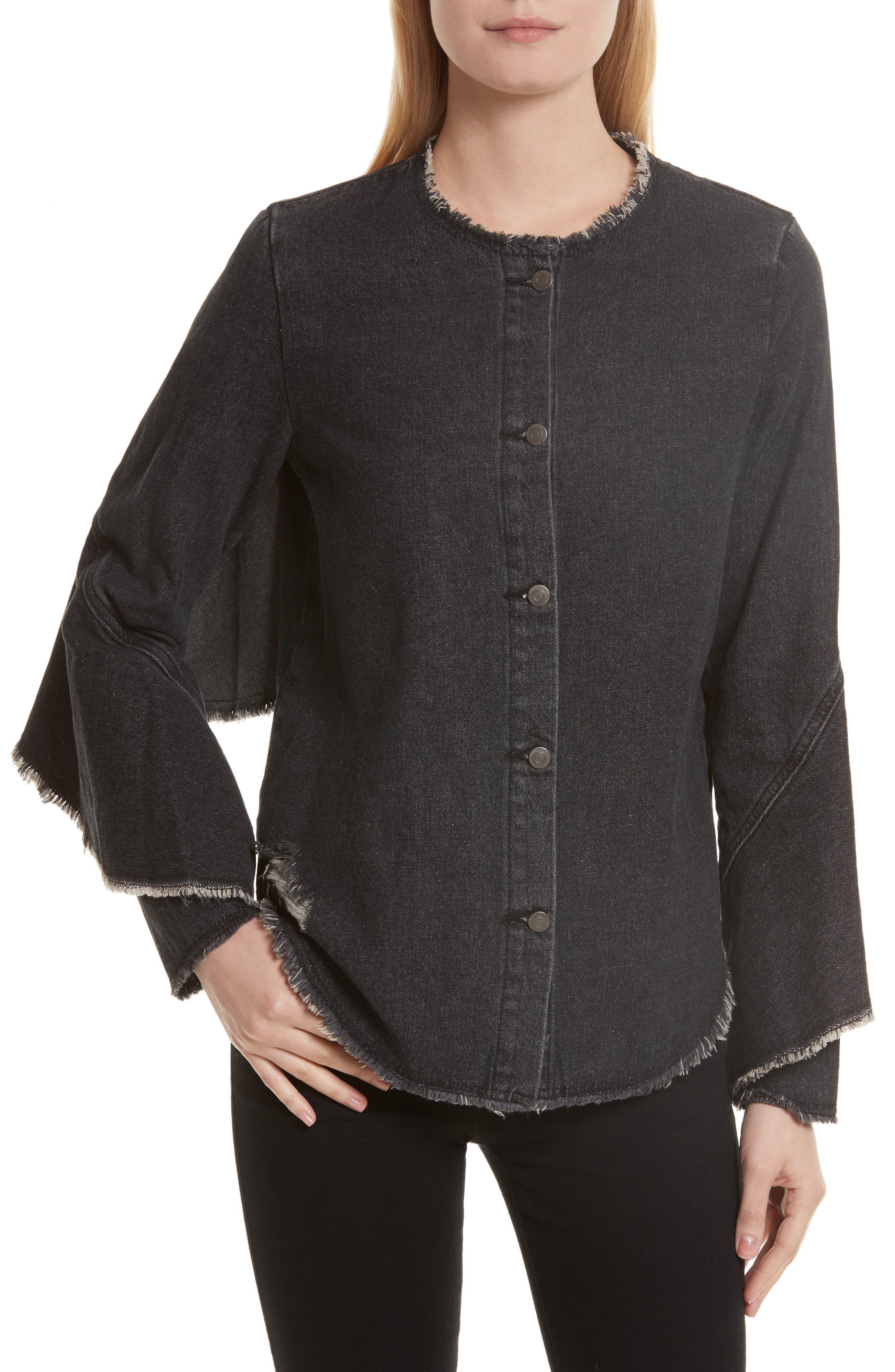Denim Ruffle Shirt,                         Main,                         color, Black Denim