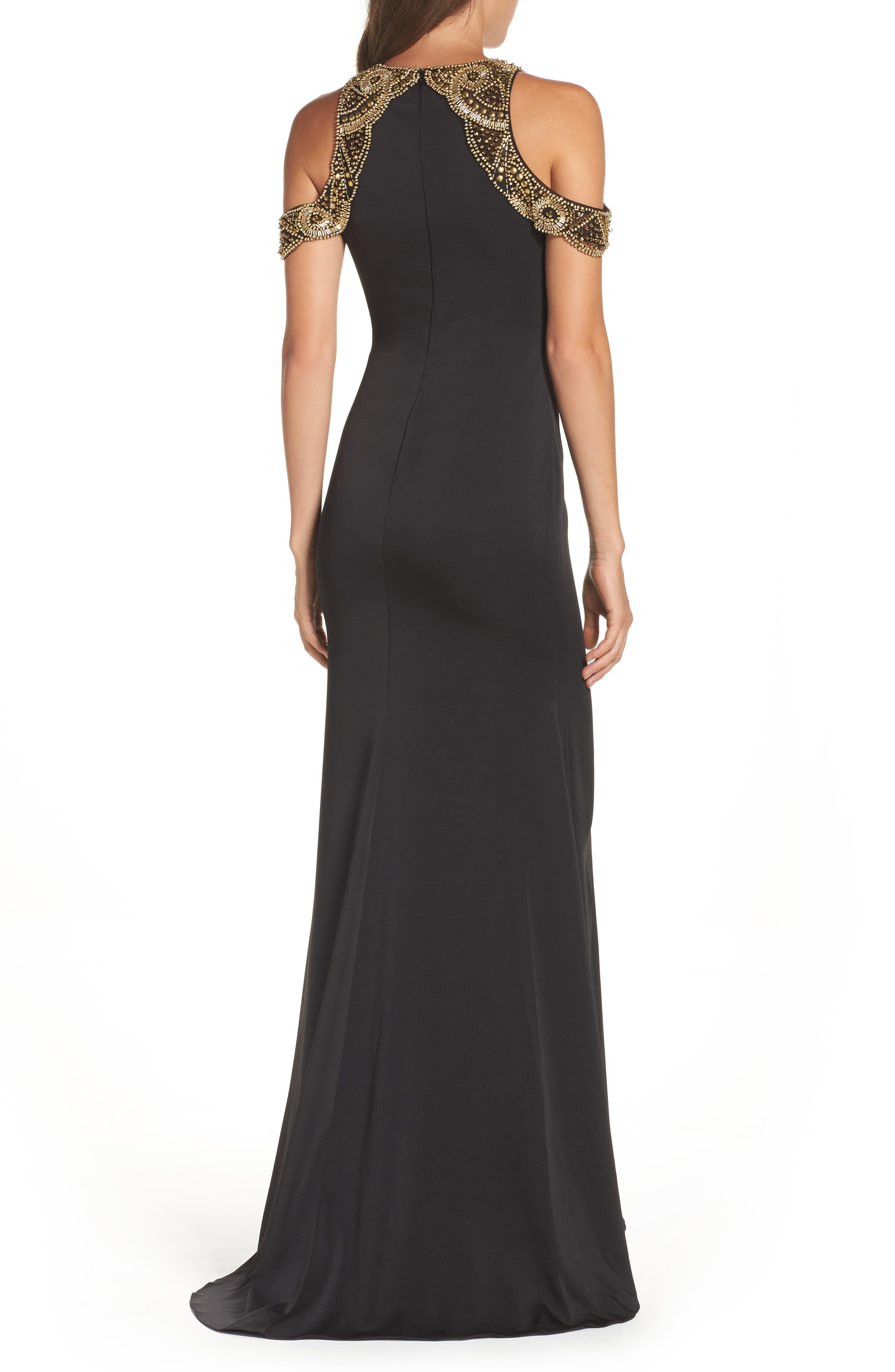 Alternate Image 2  - Ieena for Mac Duggal Embellished Cold Shoulder Gown