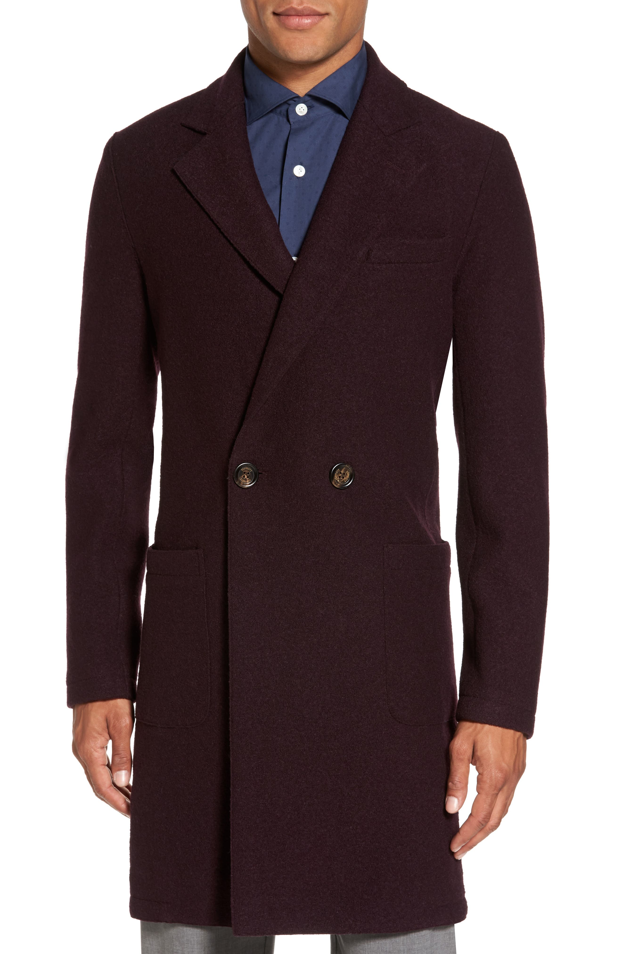 Boiled Wool Double Breasted Topcoat,                         Main,                         color, Burgundy
