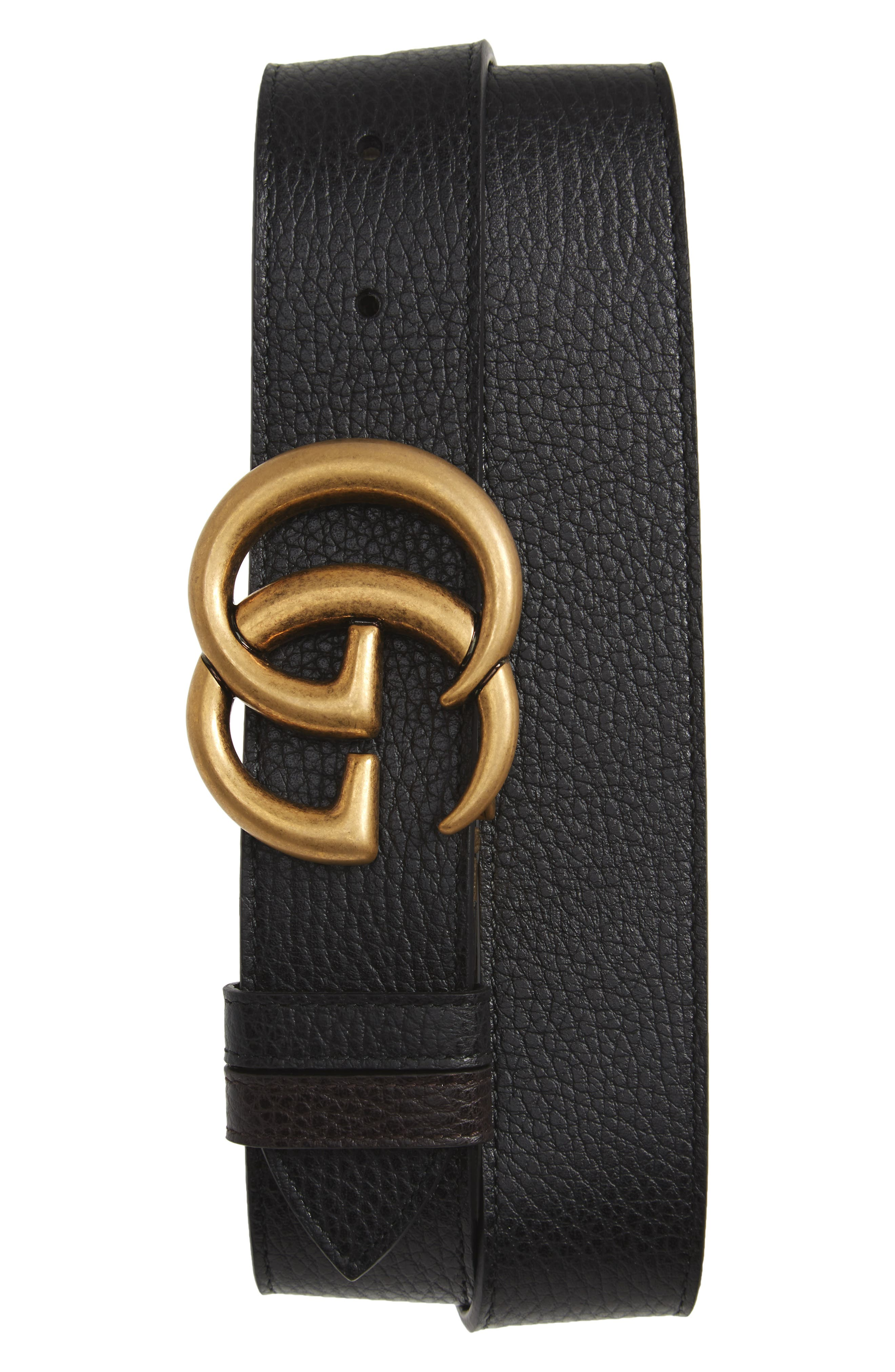 GG Marmont Reversible Leather Belt,                         Main,                         color, Black/ Cocoa