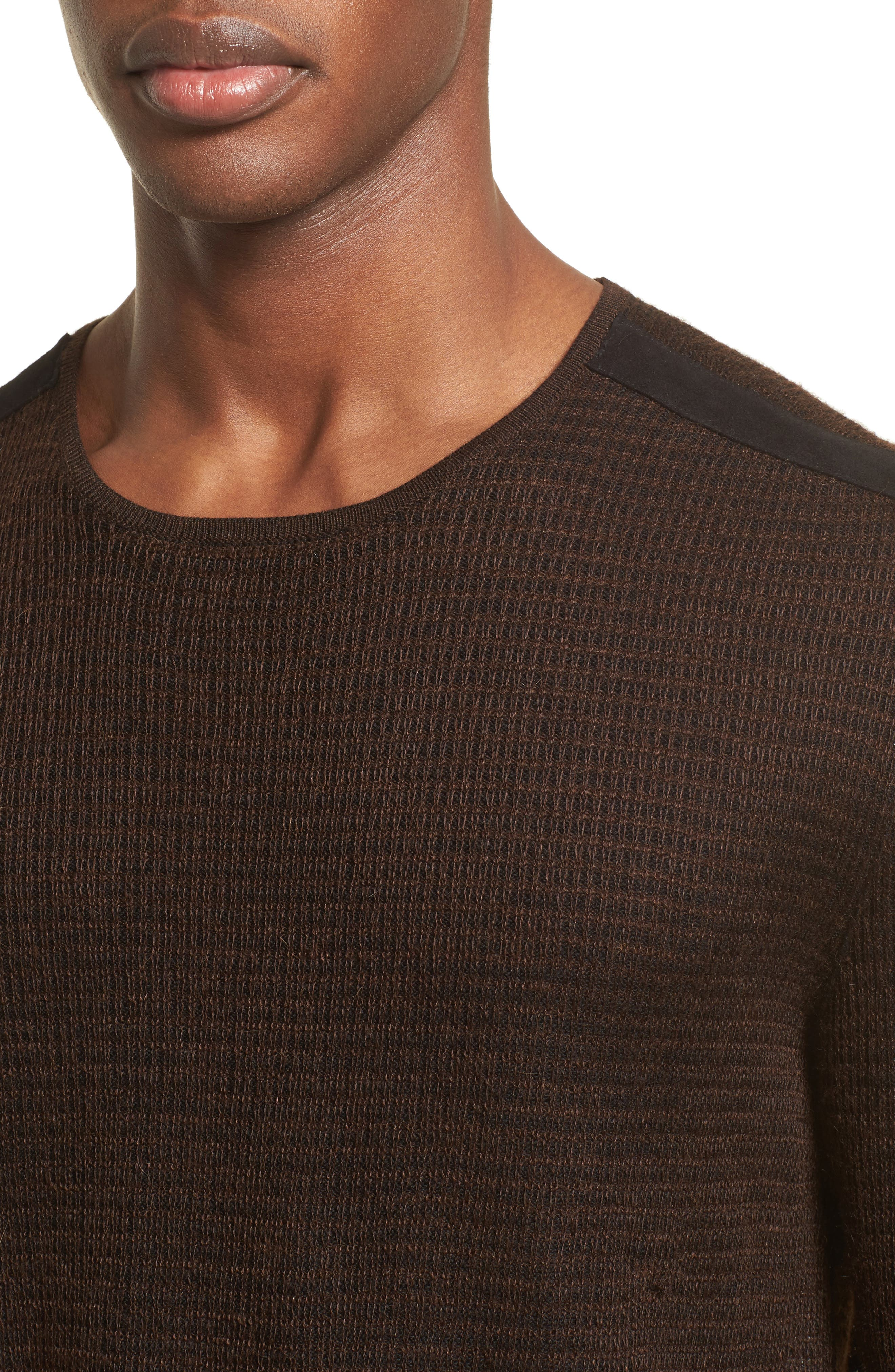 Waffle Knit Sweater,                             Alternate thumbnail 4, color,                             Wood Brown