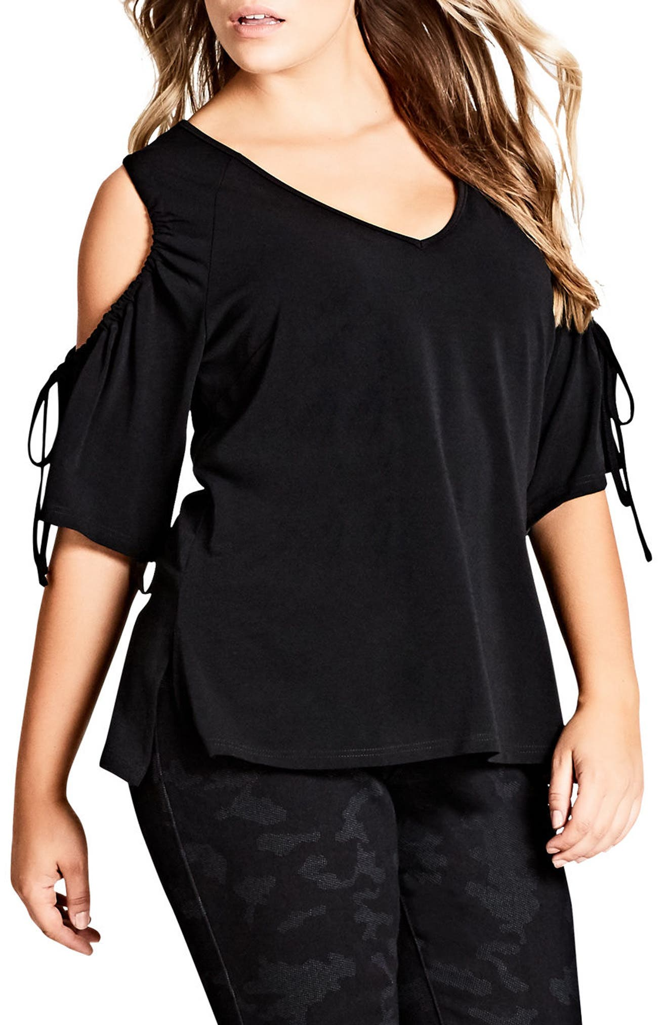 City Chic Drawstring Cold Shoulder Top (Plus Size)