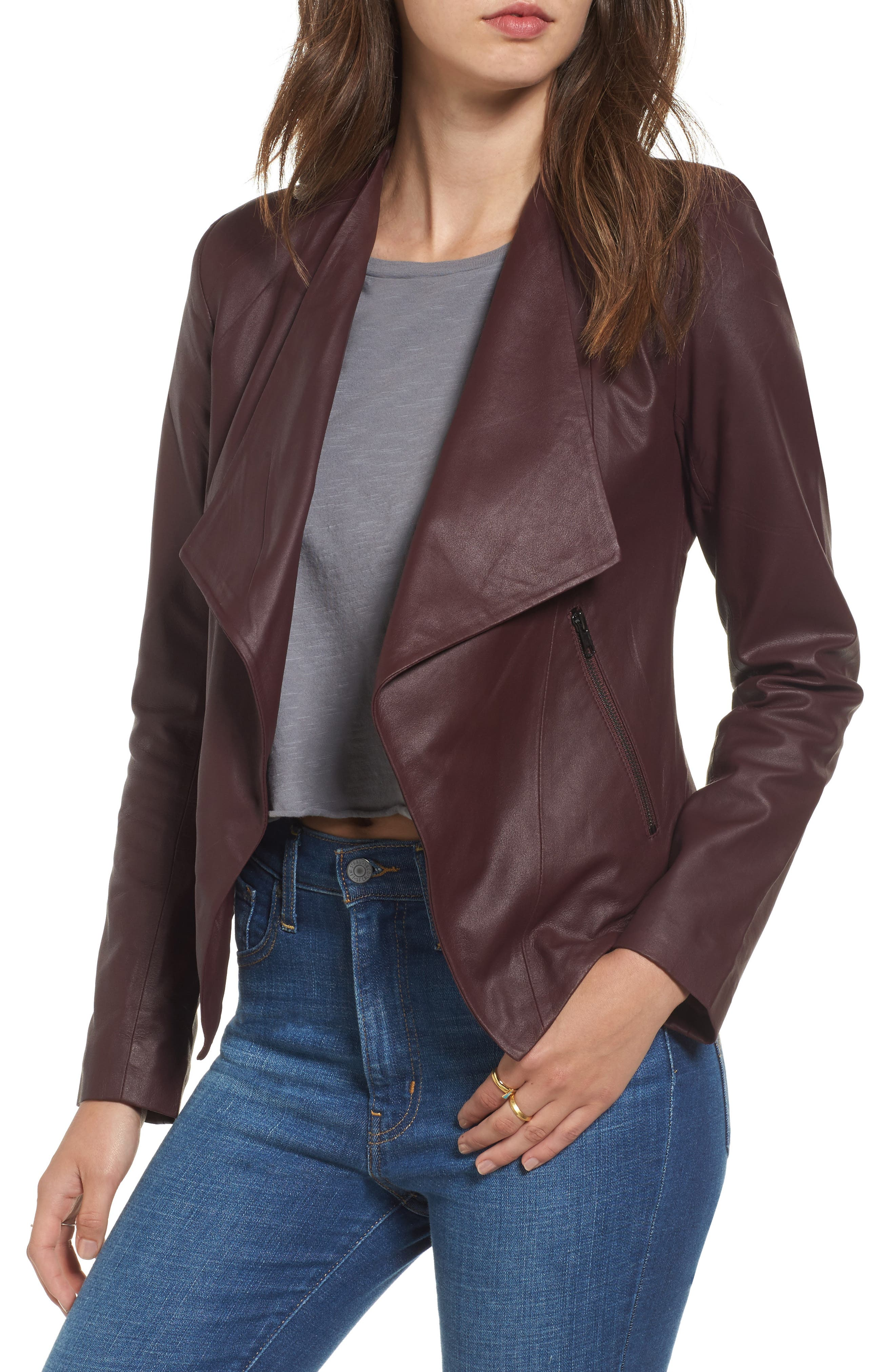 Brycen Leather Drape Front Jacket,                         Main,                         color, Fig