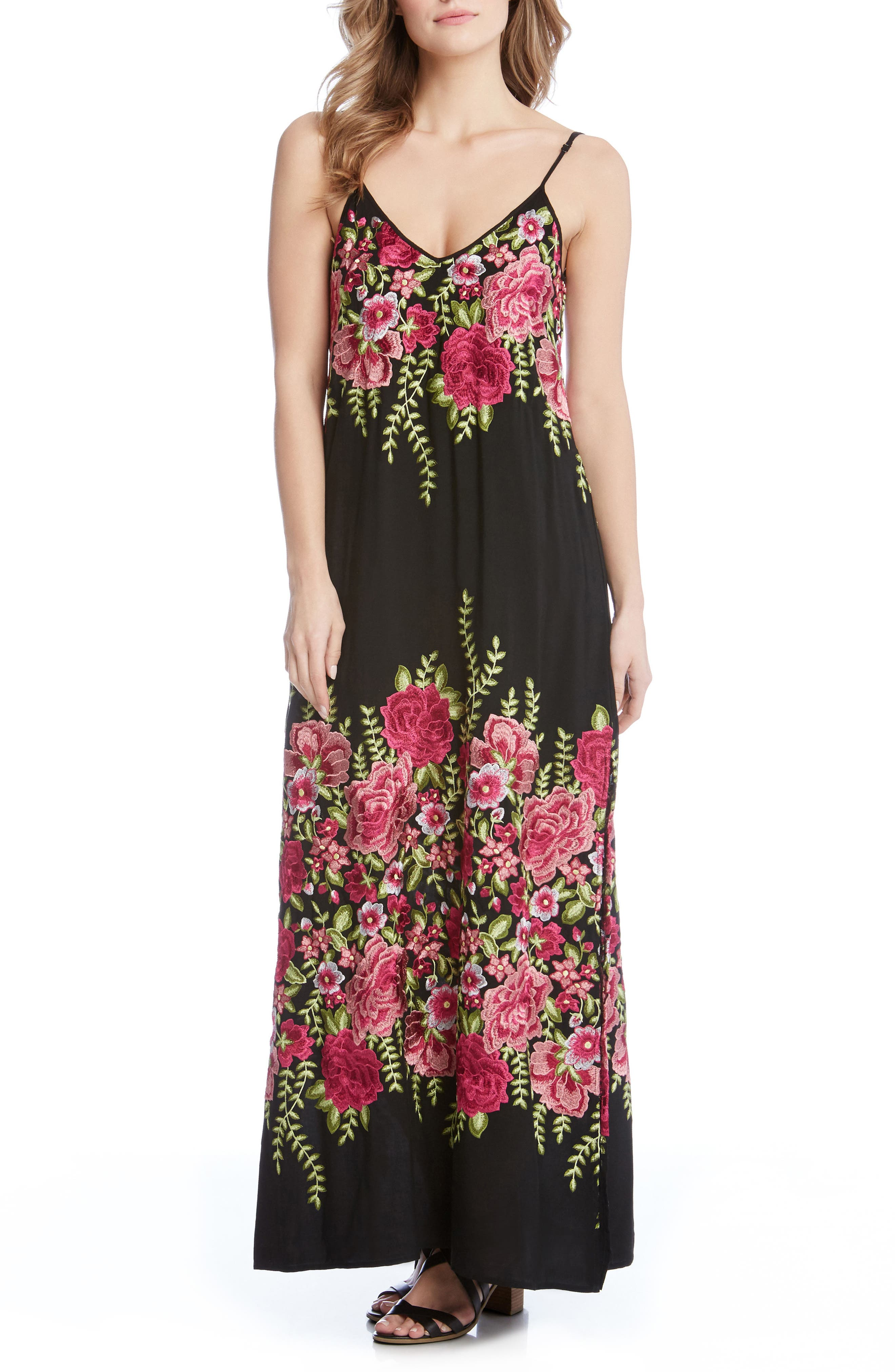 Floral Embroidered Maxi Dress,                             Main thumbnail 1, color,                             Black/ Embroidery