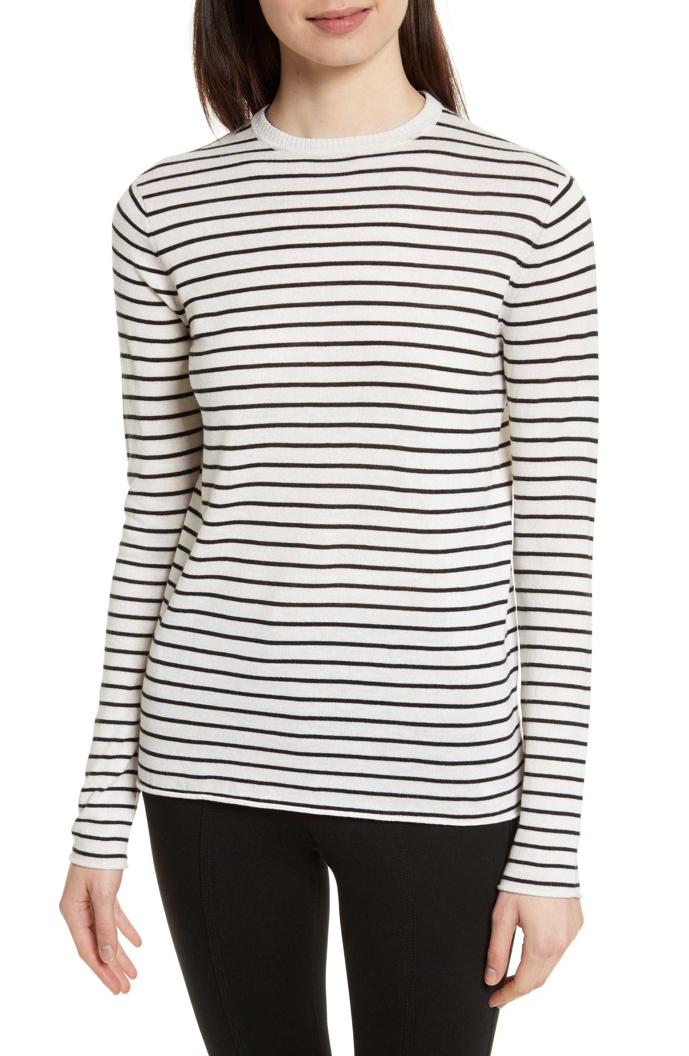 Stripe Silk Blend Sweater,                             Main thumbnail 1, color,                             Chalk/ Black