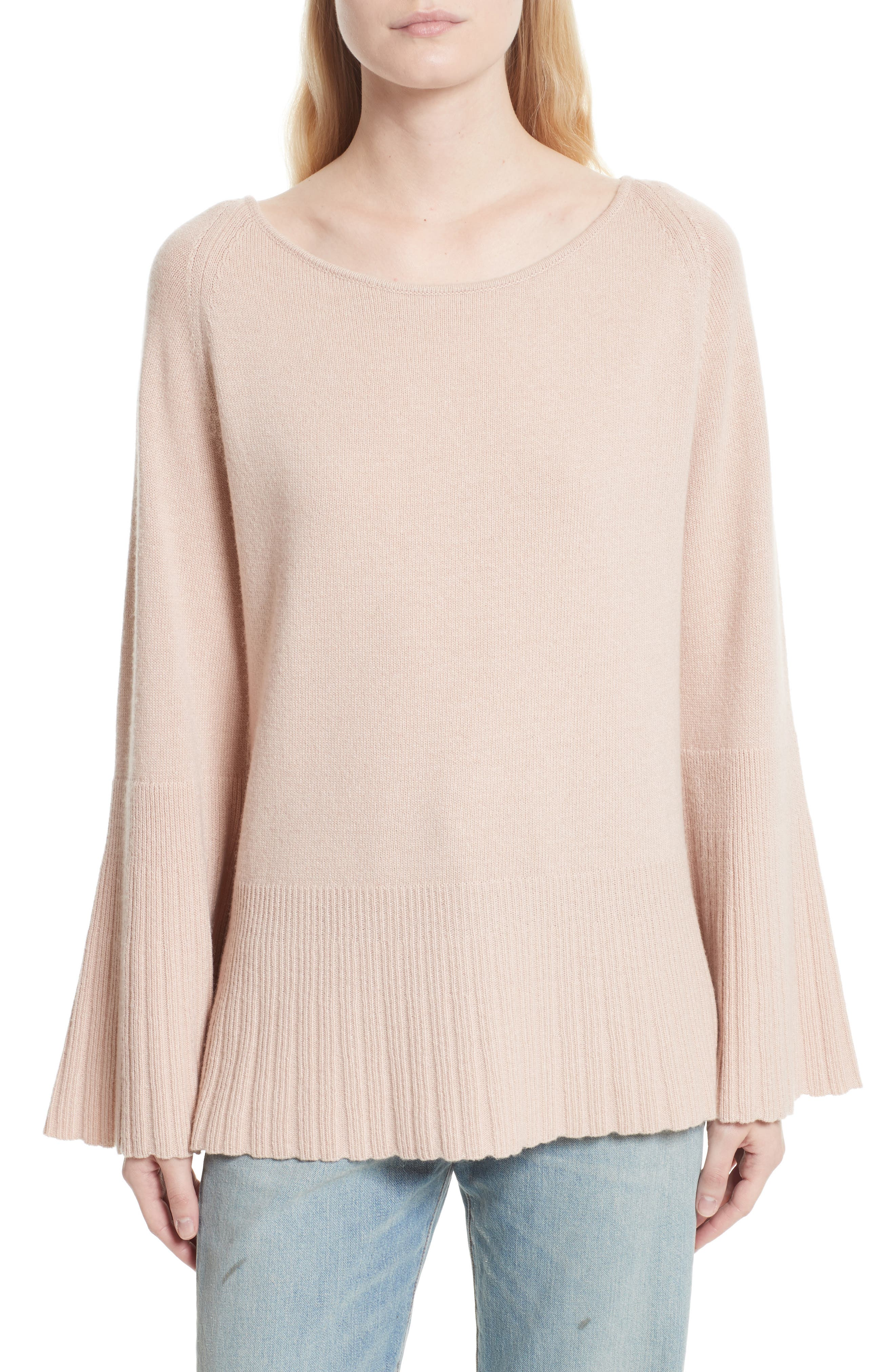 Clarette Bell Sleeve Sweater,                         Main,                         color, Biscuit