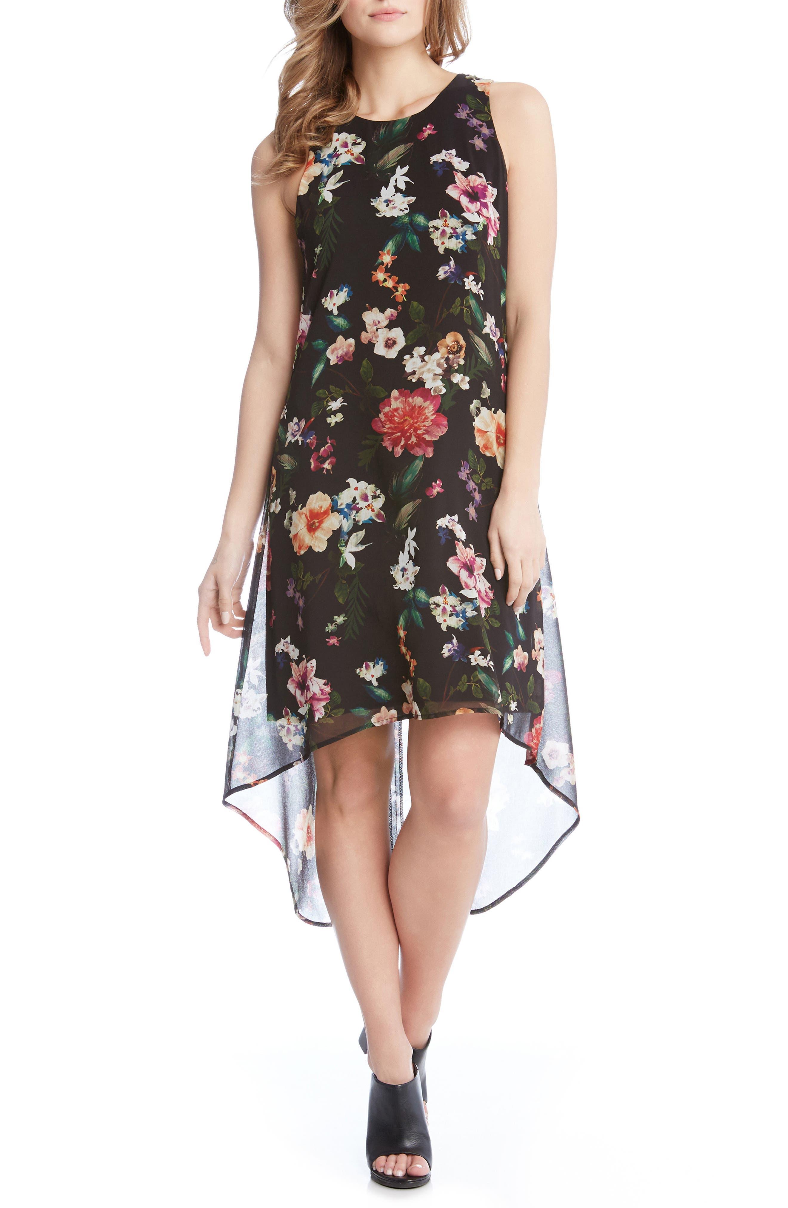 Main Image - Karen Kane Floral High/Low A-Line Dress
