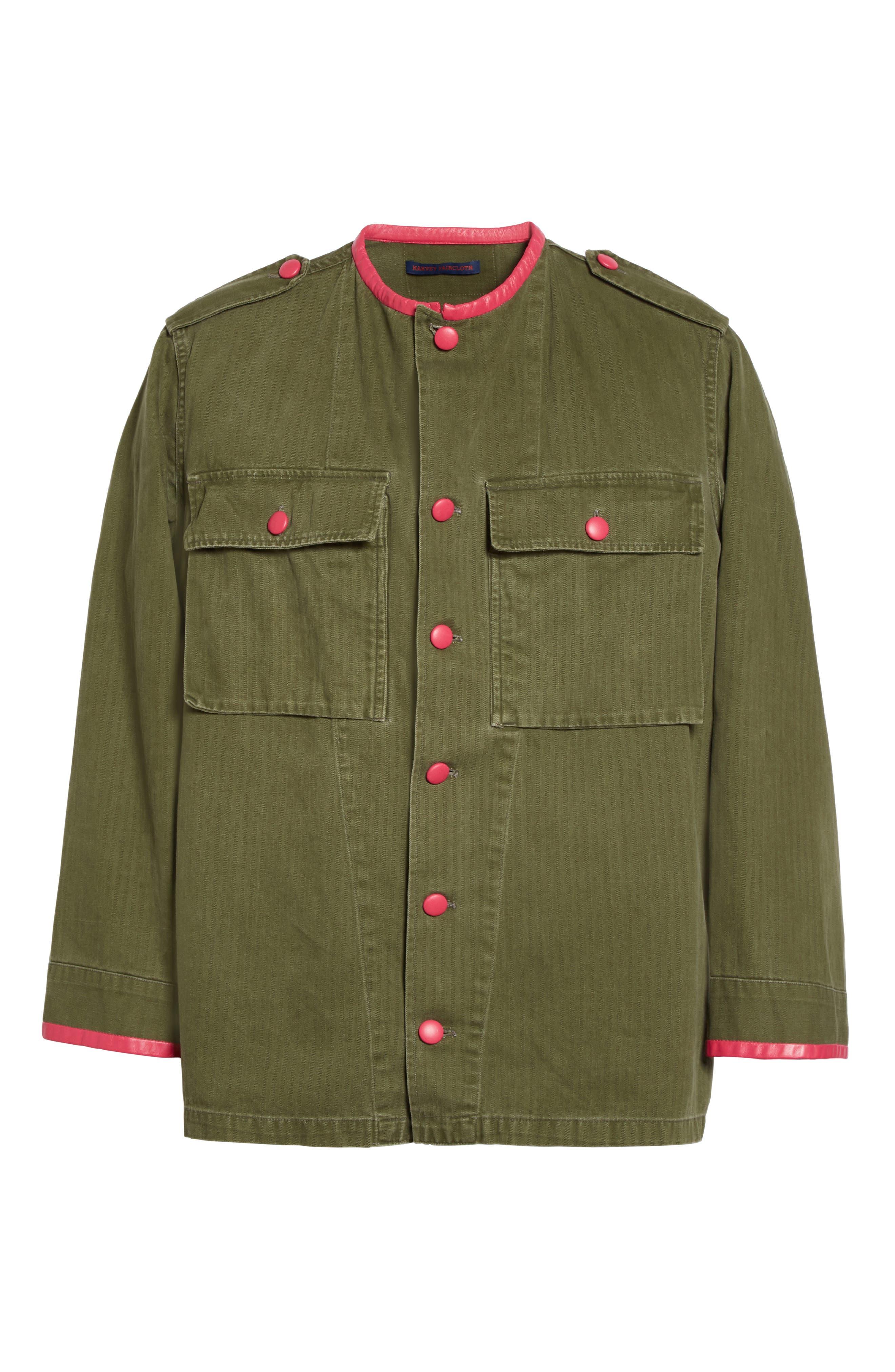 Alternate Image 6  - Harvey Faircloth Leather Trim Vintage Army Jacket