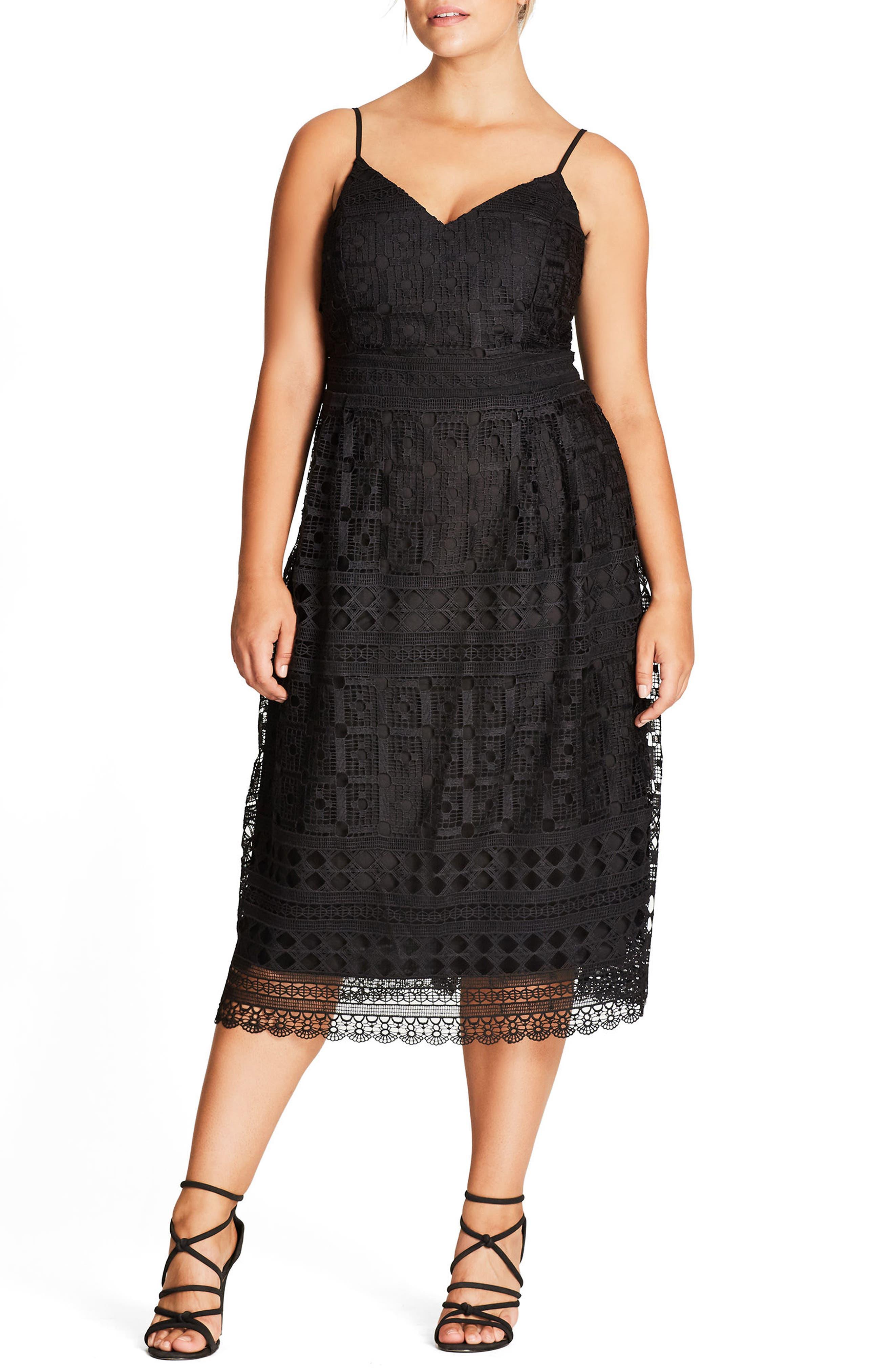 Sublime Lace Midi Dress,                             Main thumbnail 1, color,                             Black