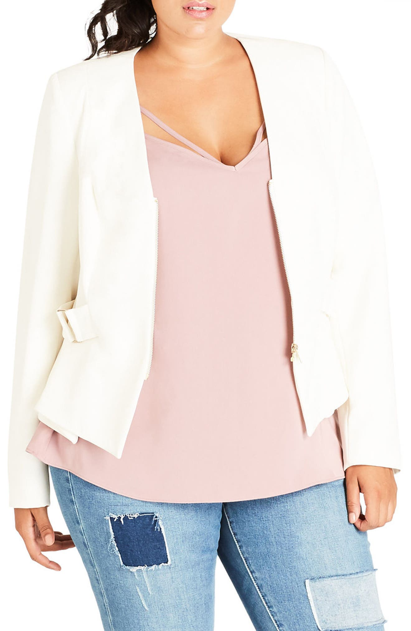 Side Buckle Crop Jacket,                             Main thumbnail 1, color,                             Ivory