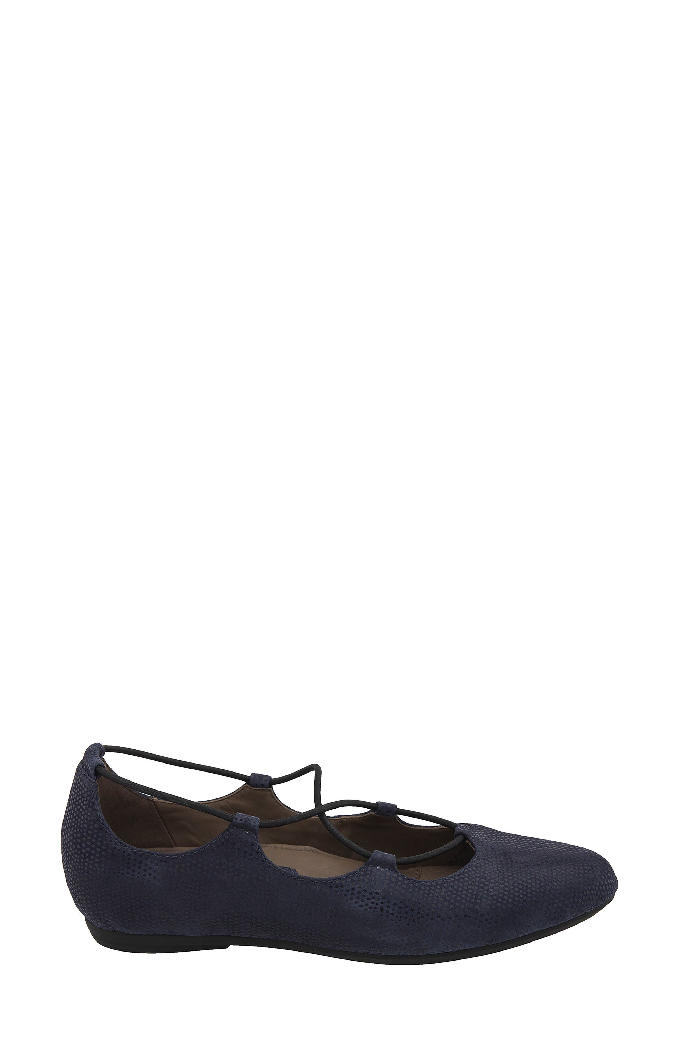 'Essen' Ghillie Flat,                             Alternate thumbnail 4, color,                             Navy Printed Suede