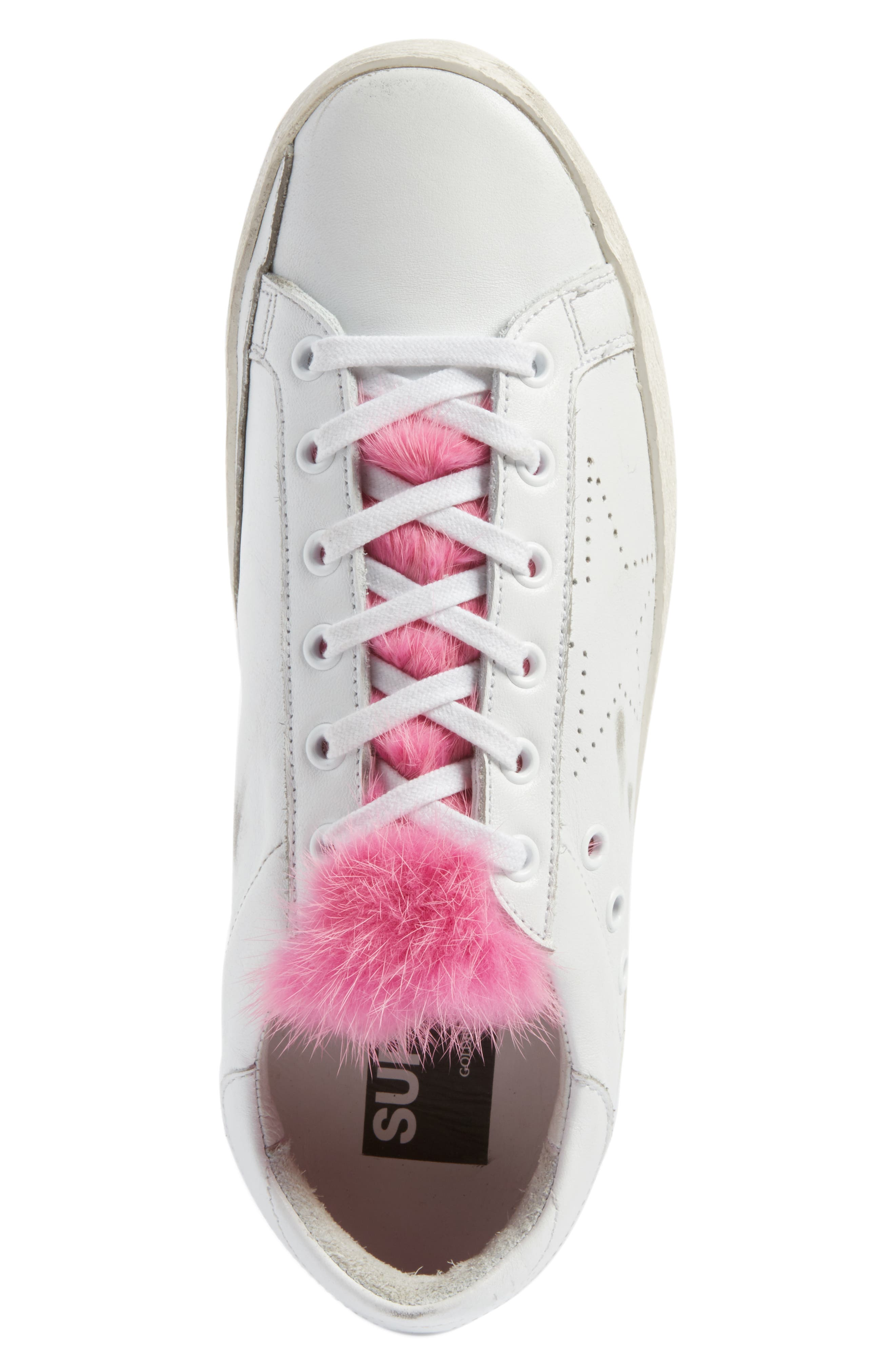 Superstar Genuine Mink Fur Sneaker,                             Alternate thumbnail 5, color,                             White Leather/ Pink