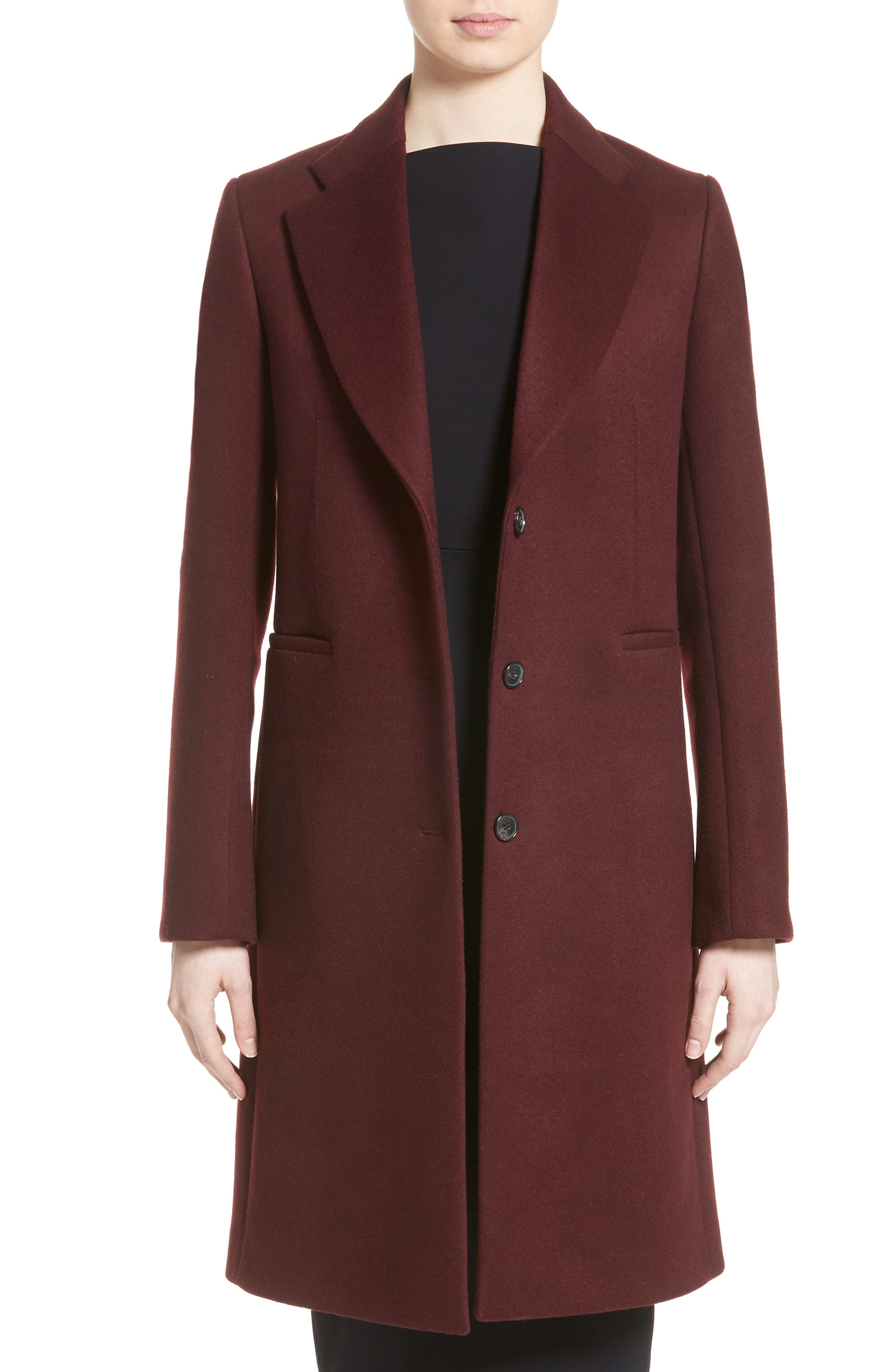 Bonded Felt Coat,                         Main,                         color, Wine-Raspberry