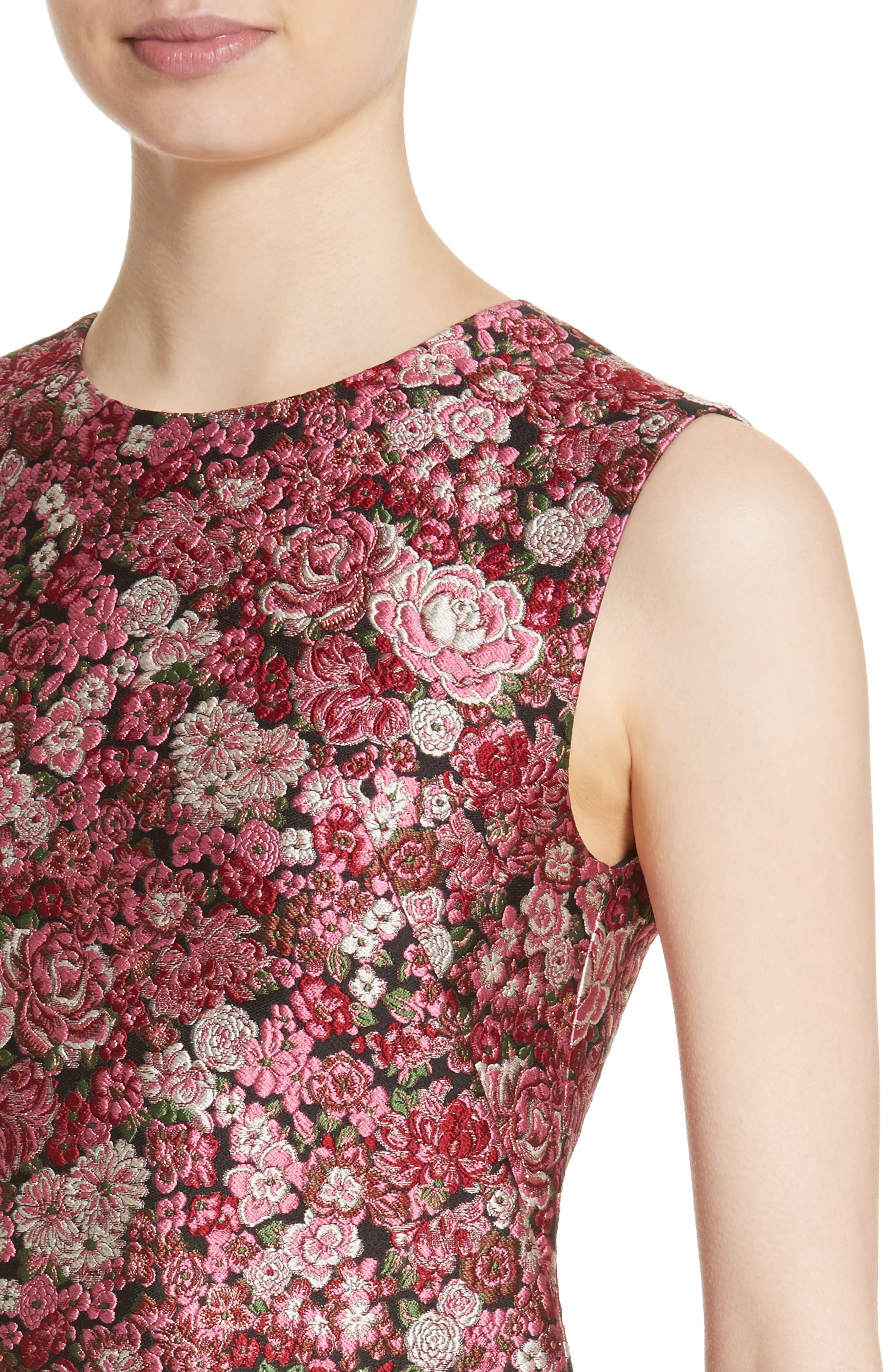 Floral Brocade Dress,                             Alternate thumbnail 4, color,                             Pink Multi