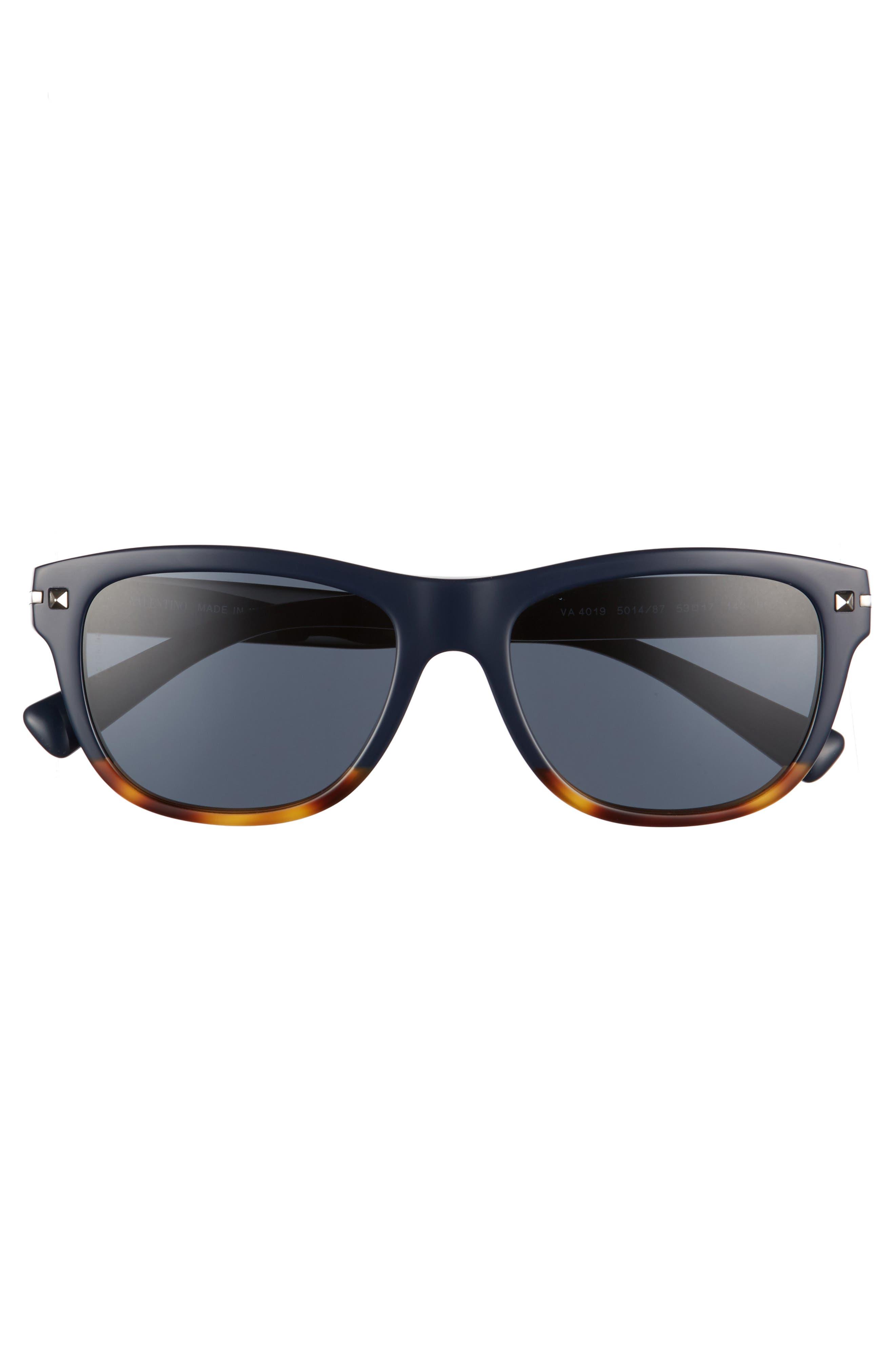 53mm Rectangle Sunglasses,                             Alternate thumbnail 3, color,                             Blue/ Havana