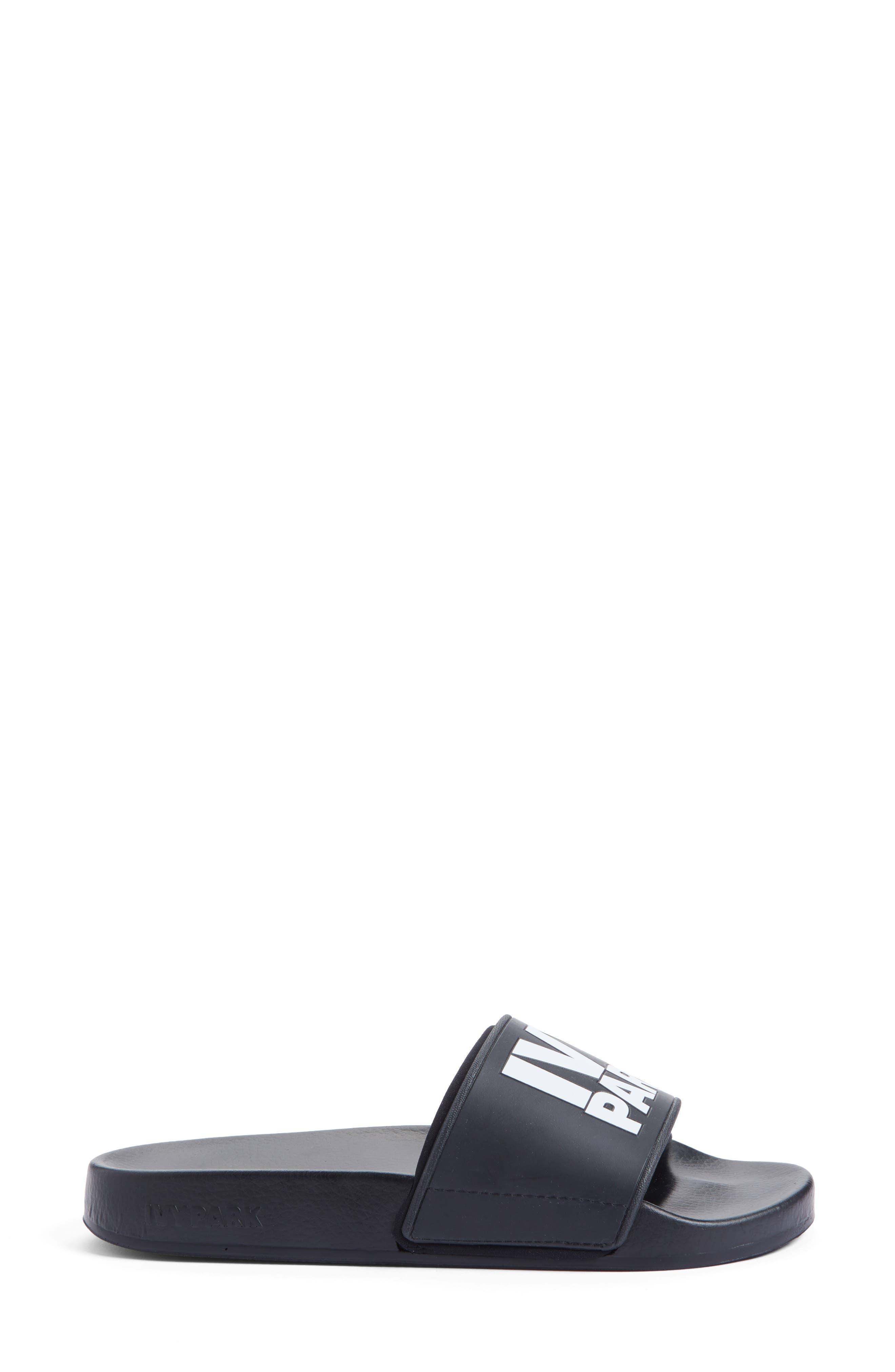 Neoprene Lined Logo Slide Sandal,                             Alternate thumbnail 3, color,                             Black