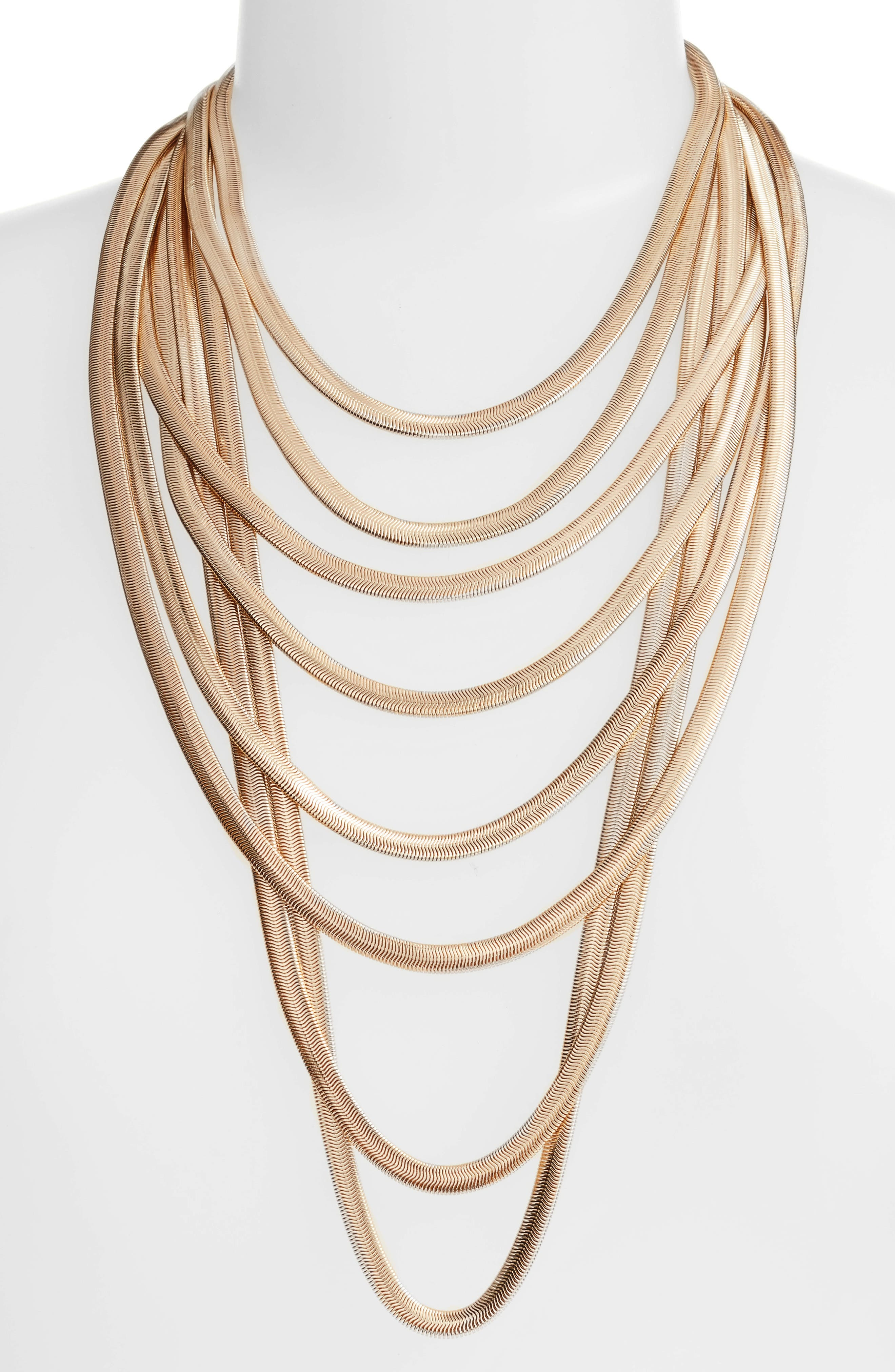 Flat Chain Layer Necklace,                         Main,                         color, Gold