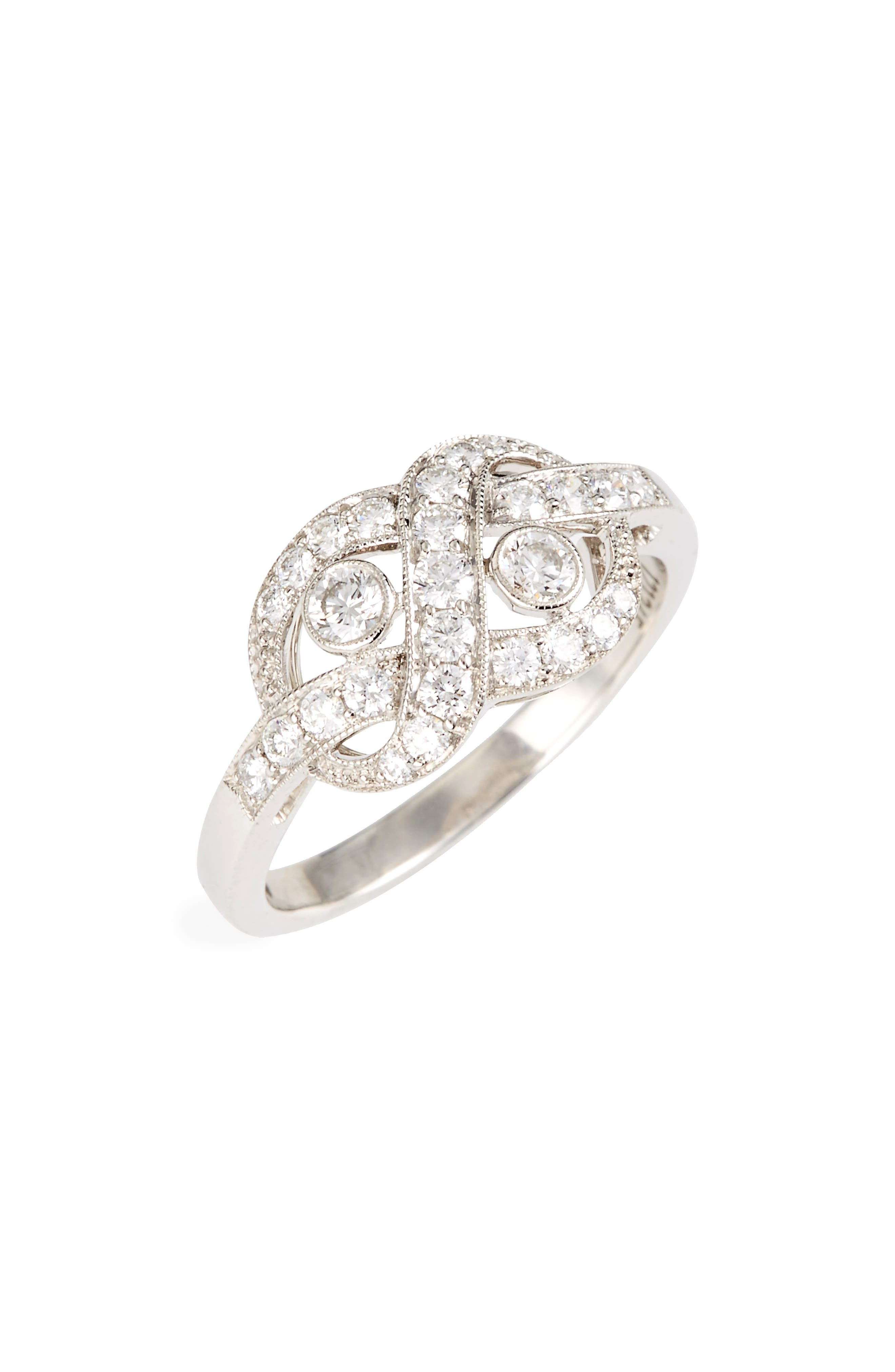 Diamond Knot Ring,                         Main,                         color, White Gold
