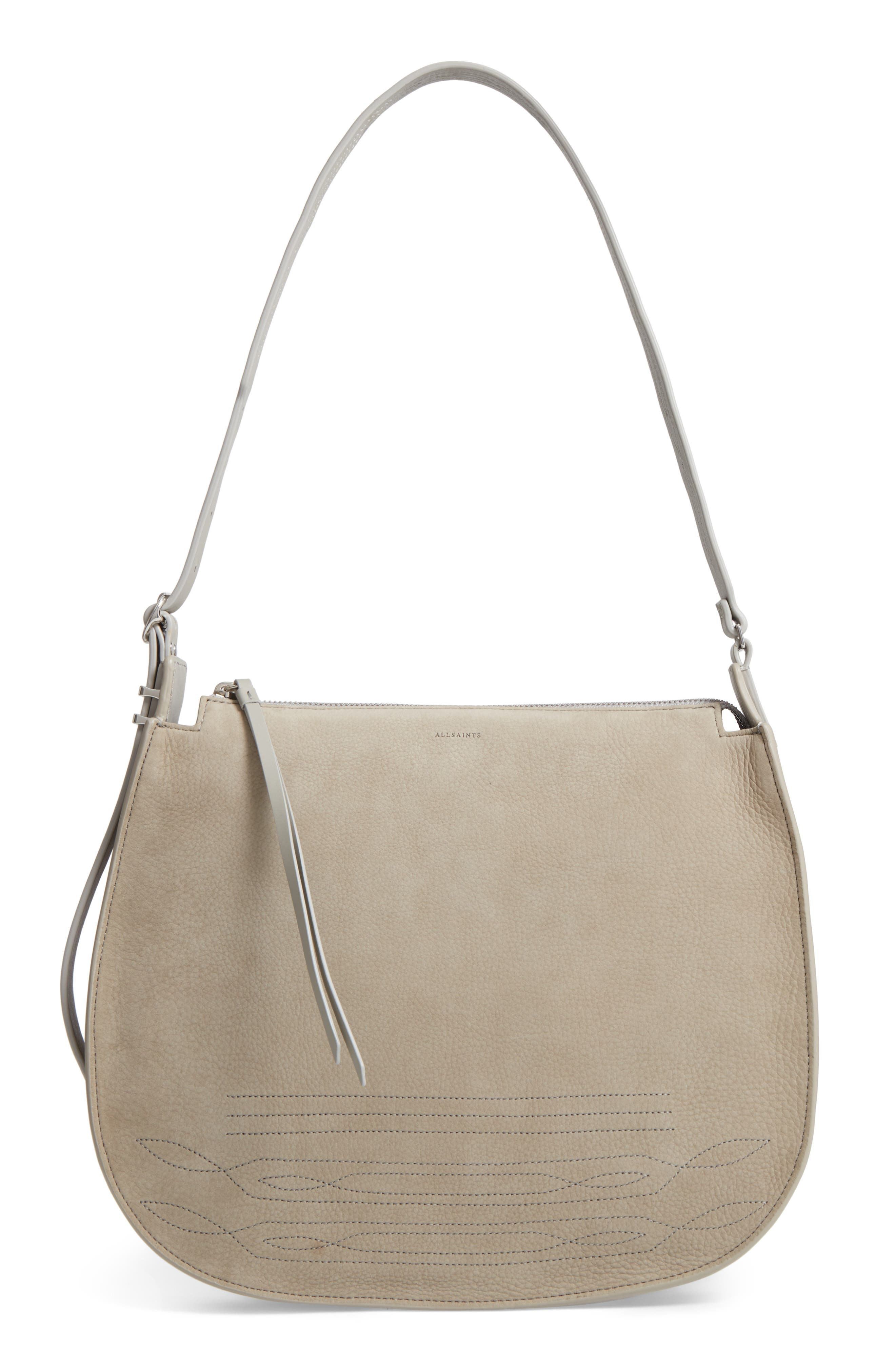 Cooper Nubuck Hobo,                         Main,                         color, Light Cement Grey