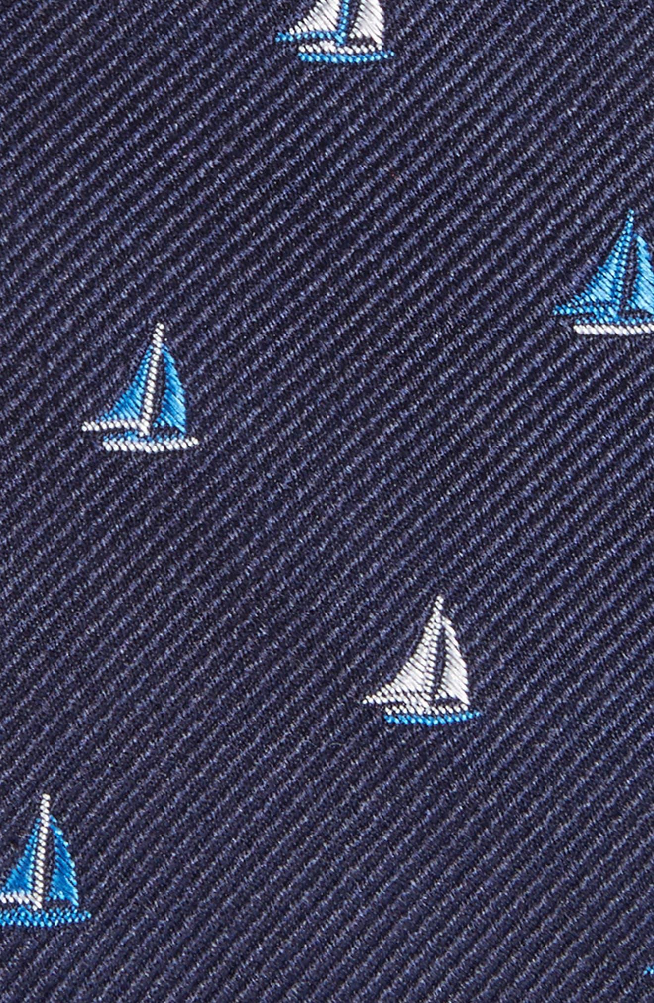 Sailboat Silk Skinny Tie,                             Alternate thumbnail 2, color,                             Navy