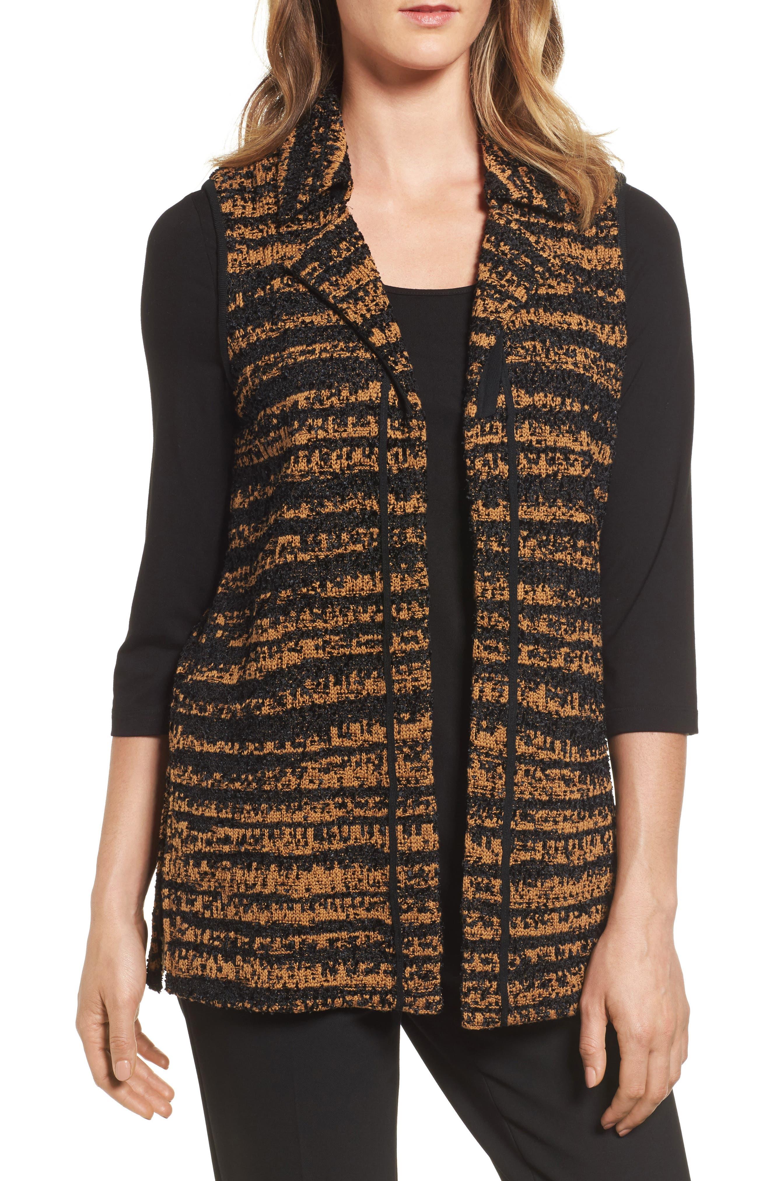 Stripe Sweater Vest,                         Main,                         color, Black/ Bronze