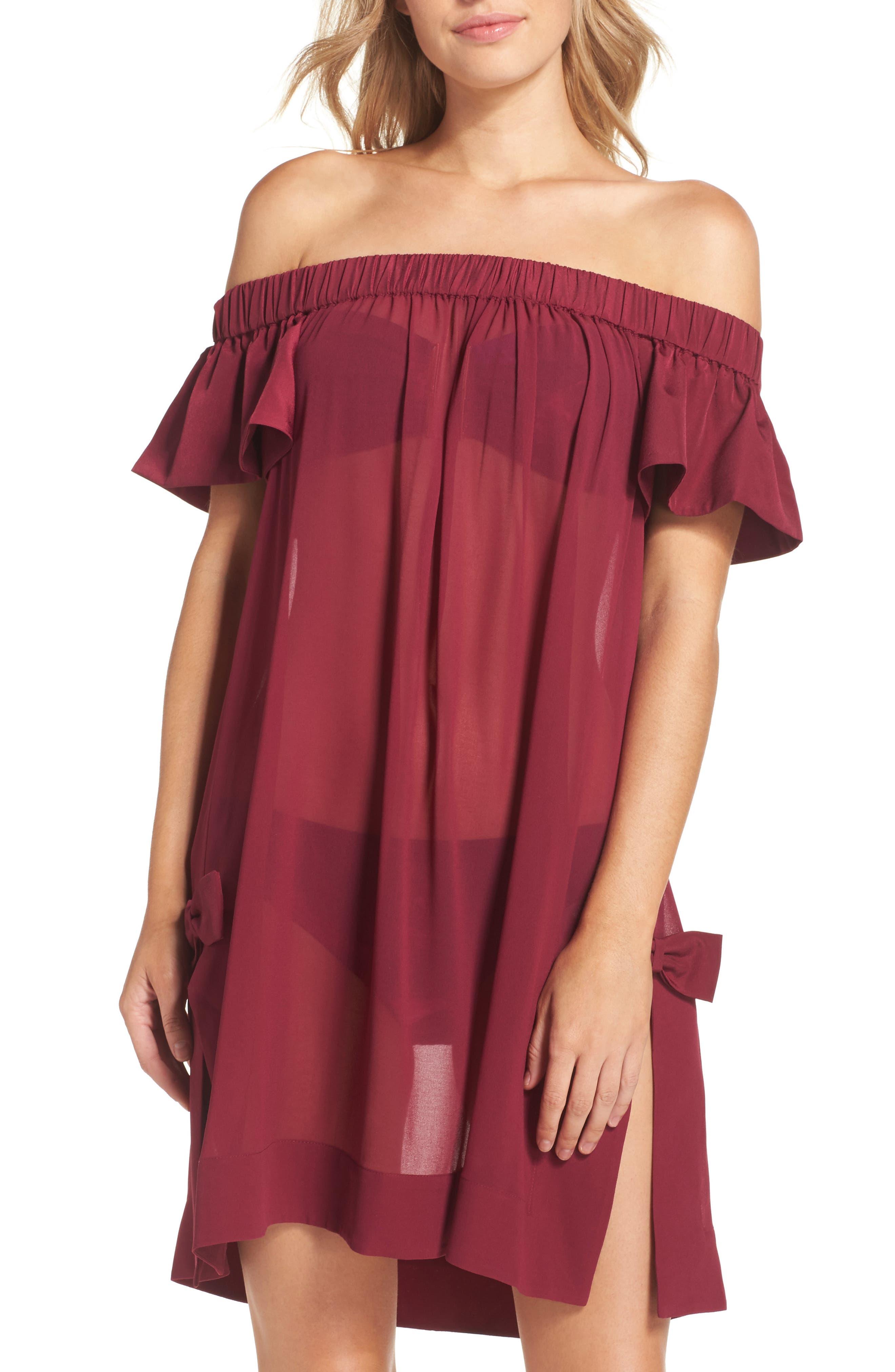 Anete Bardot Cover-Up Dress,                         Main,                         color, Purple